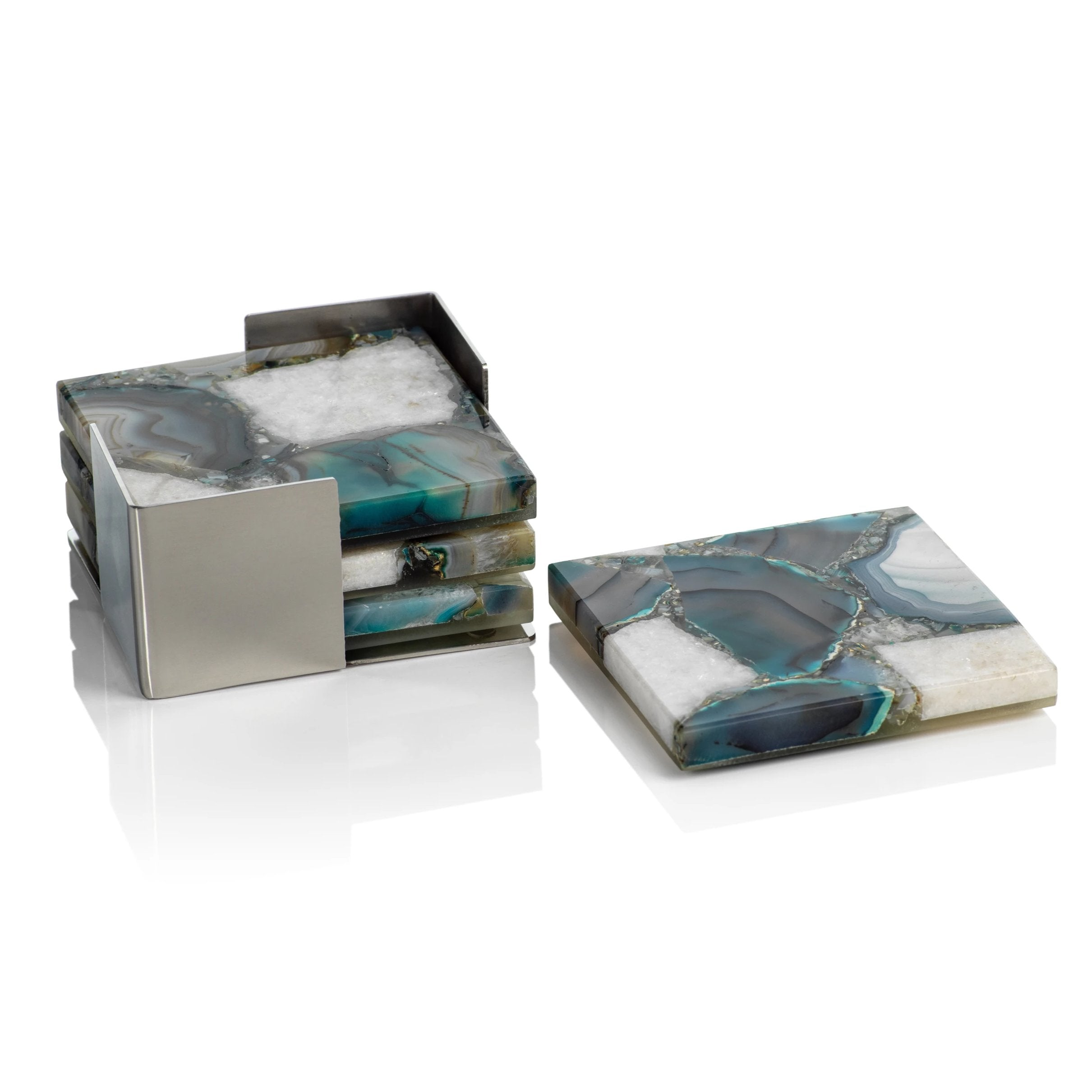 Set/4 Crete Agate Coasters on Metal Tray - Green/White - CARLYLE AVENUE