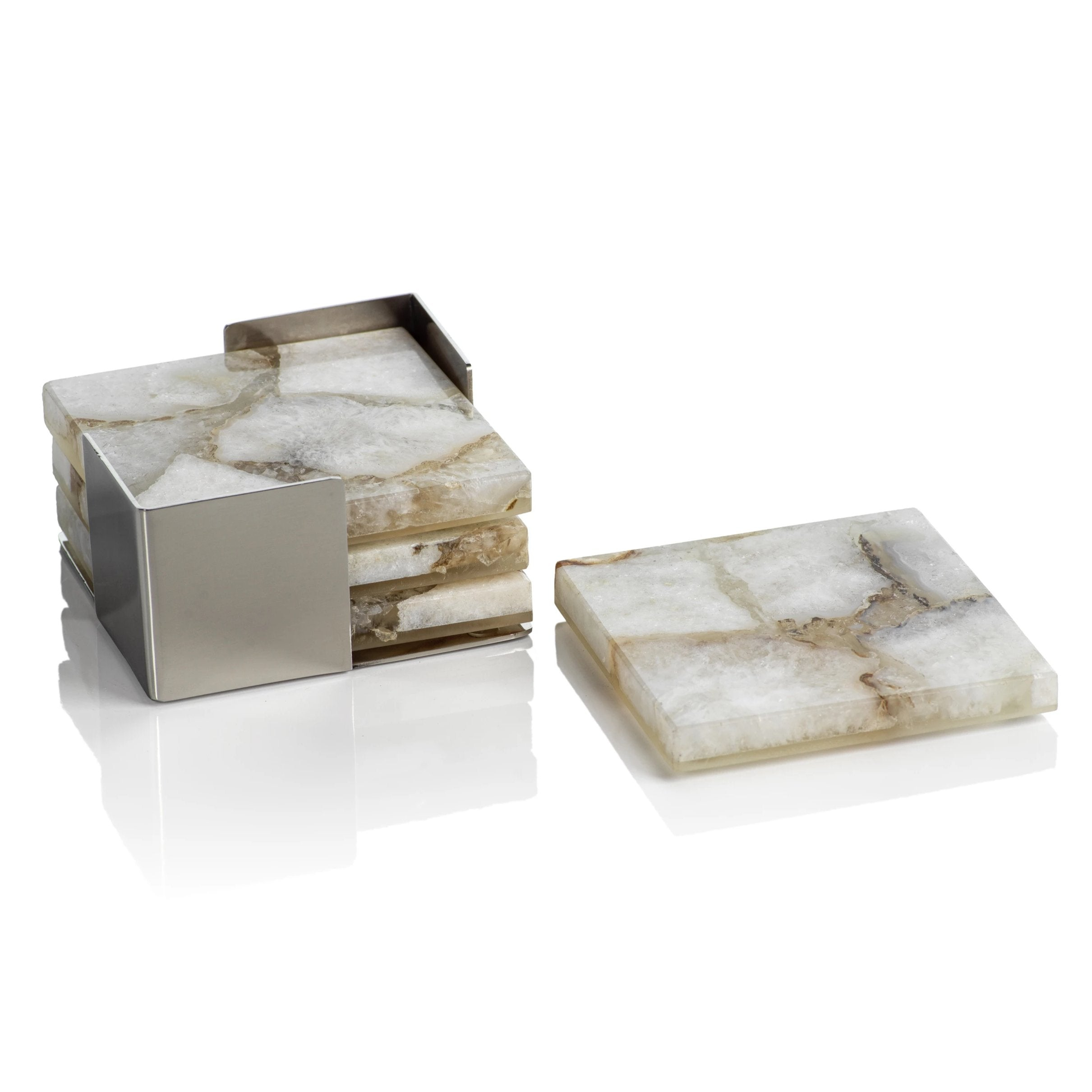 Set/4 Crete Agate Coasters on Metal Tray - Taupe/White - CARLYLE AVENUE