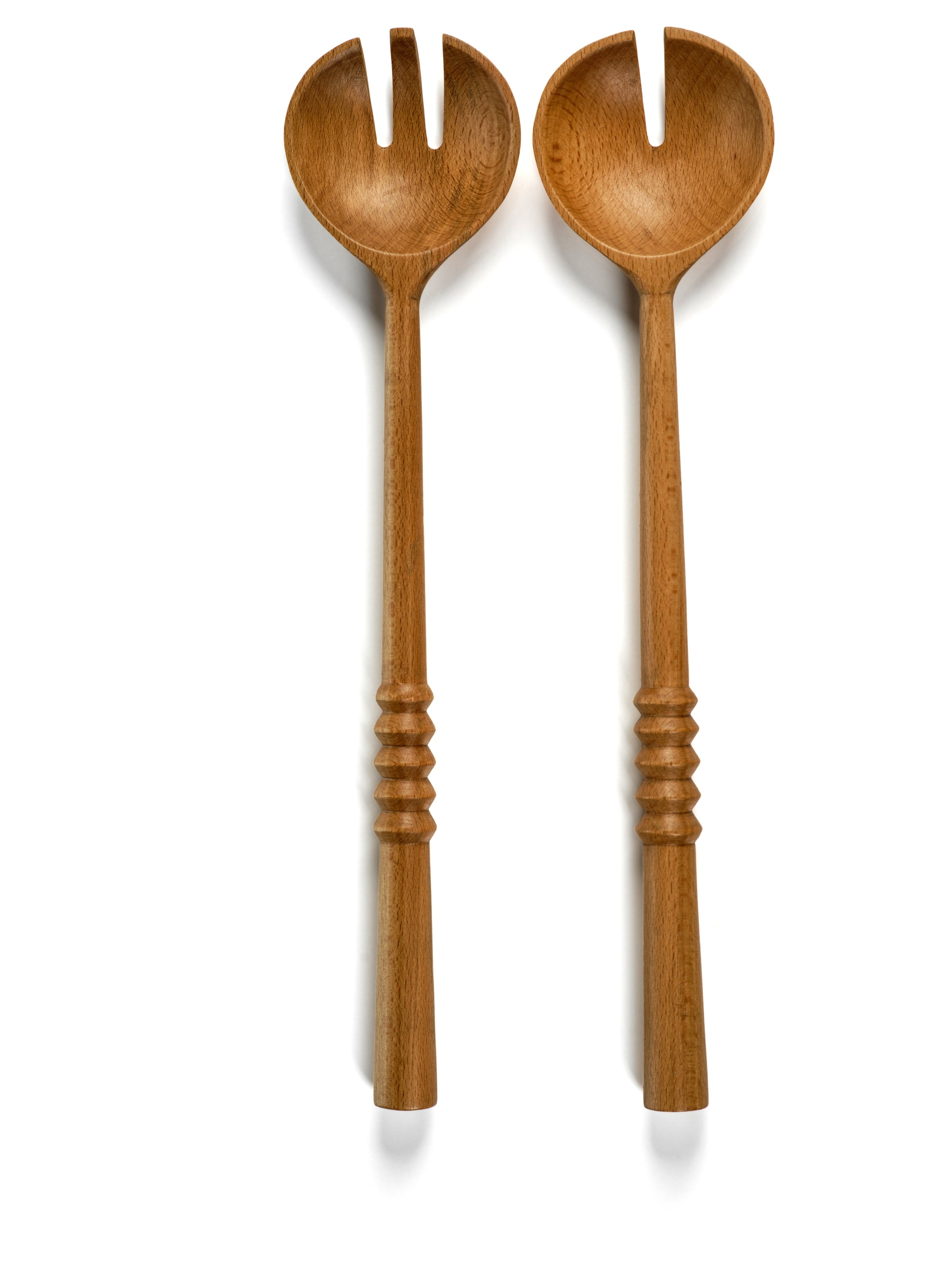 Wood Ridged Salad Servers - CARLYLE AVENUE