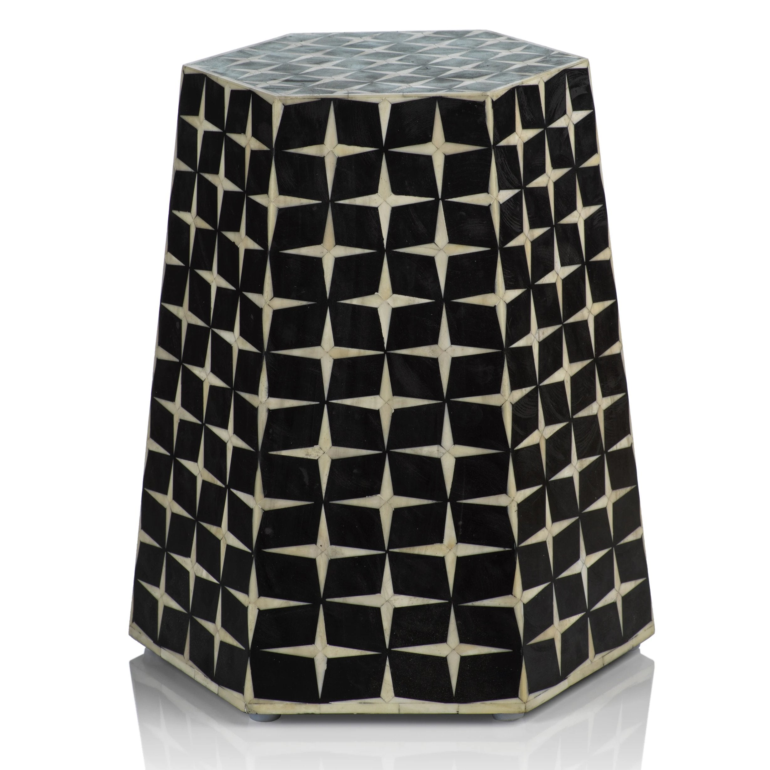 Kasbah Bone Inlay Hexagon Stool - CARLYLE AVENUE