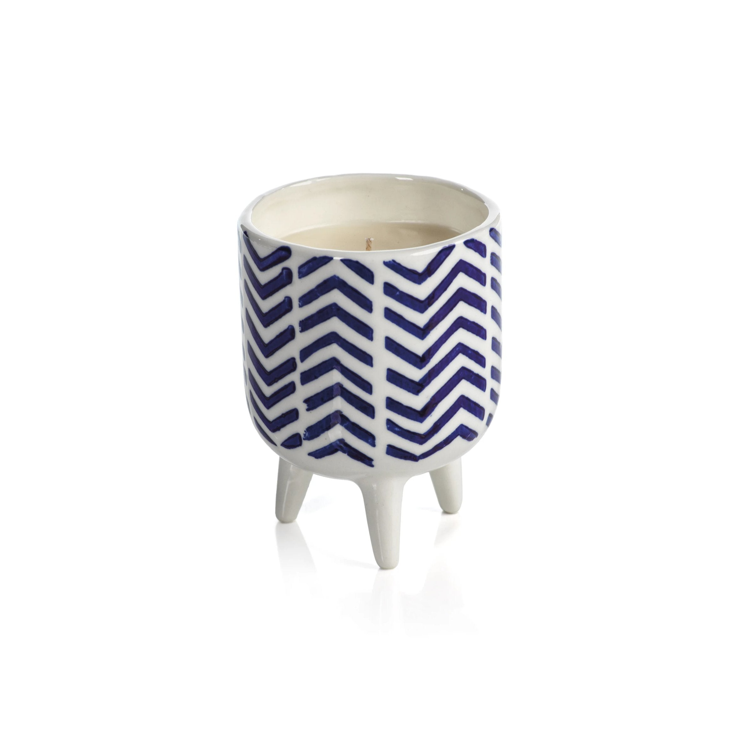 Blue Lagoon Candle - Chevron Pattern - CARLYLE AVENUE