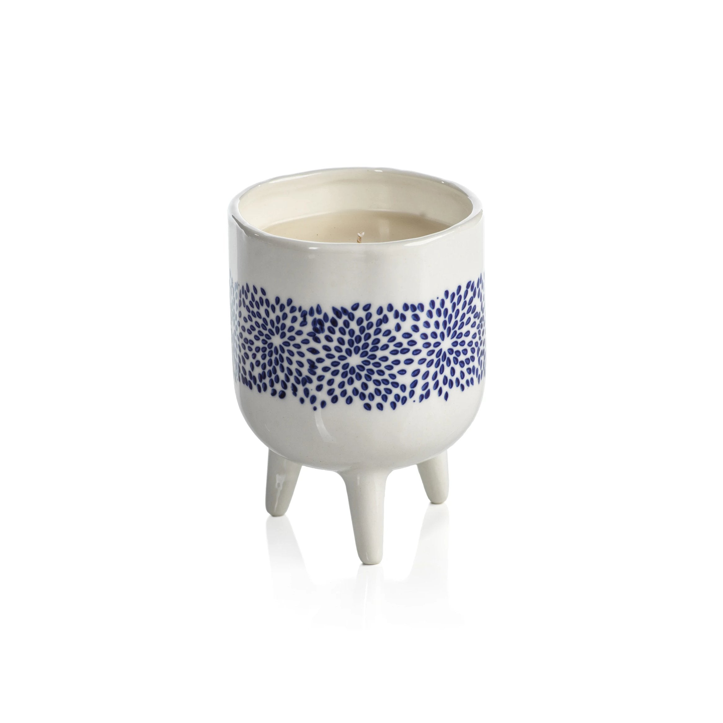 Blue Lagoon Candle - Scattered Floral Dot Pattern - CARLYLE AVENUE