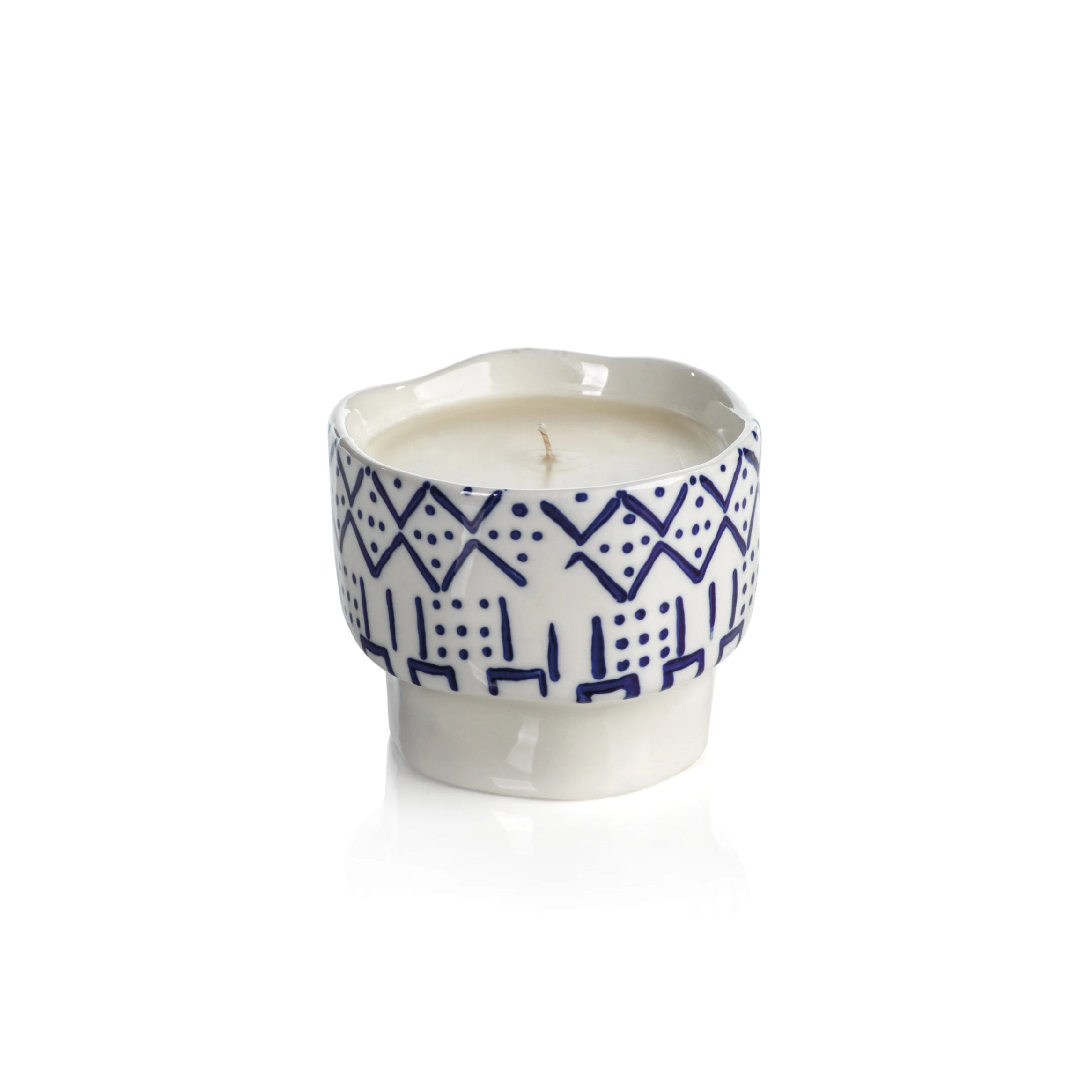 Blue Lagoon Candle - Line & Dot Pattern