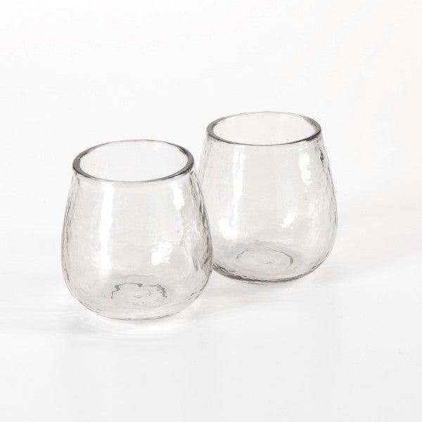 Hammered Stemless Glass - Set of Four - CARLYLE AVENUE
