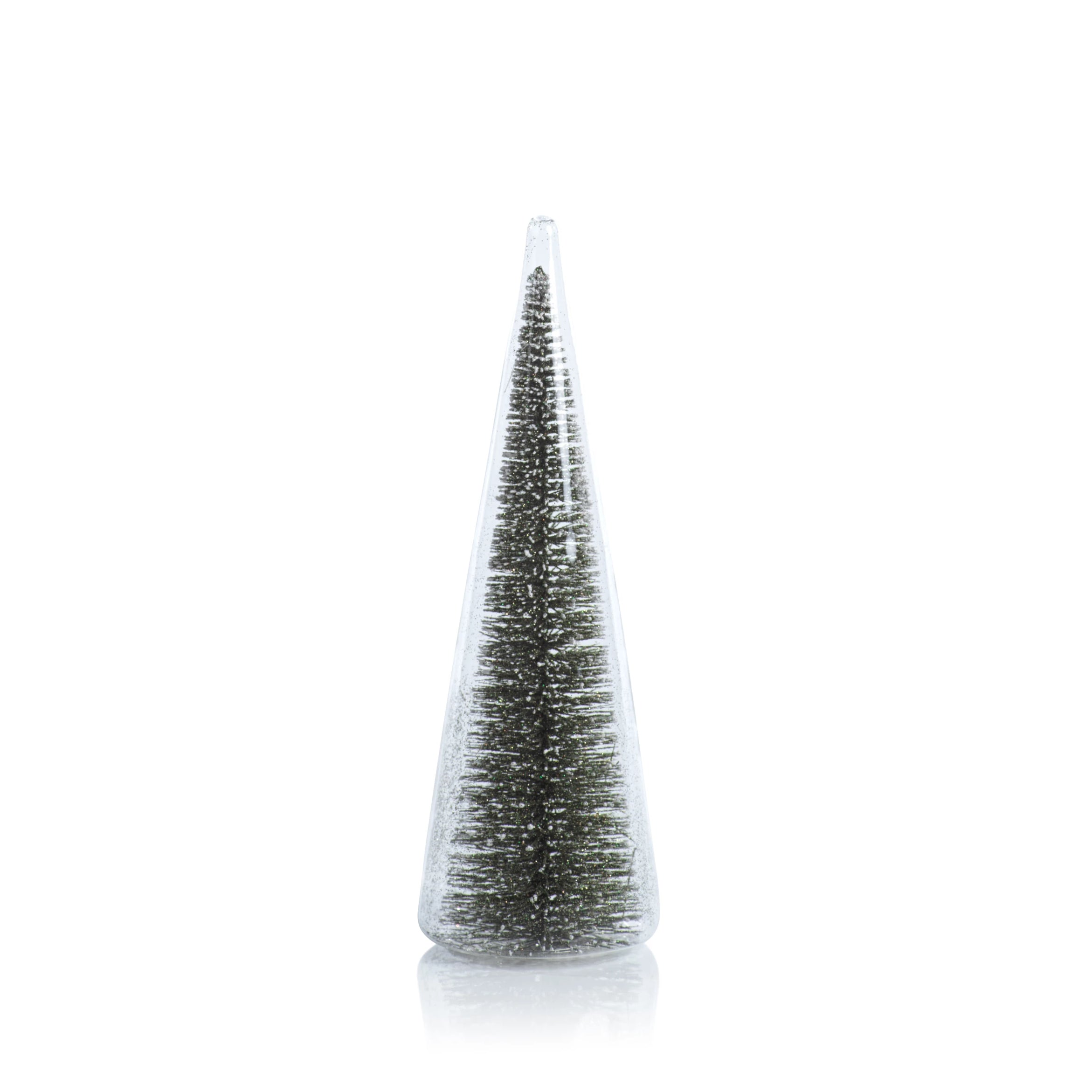 Clear Glass Decorative Tree w/Green Glitter - CARLYLE AVENUE