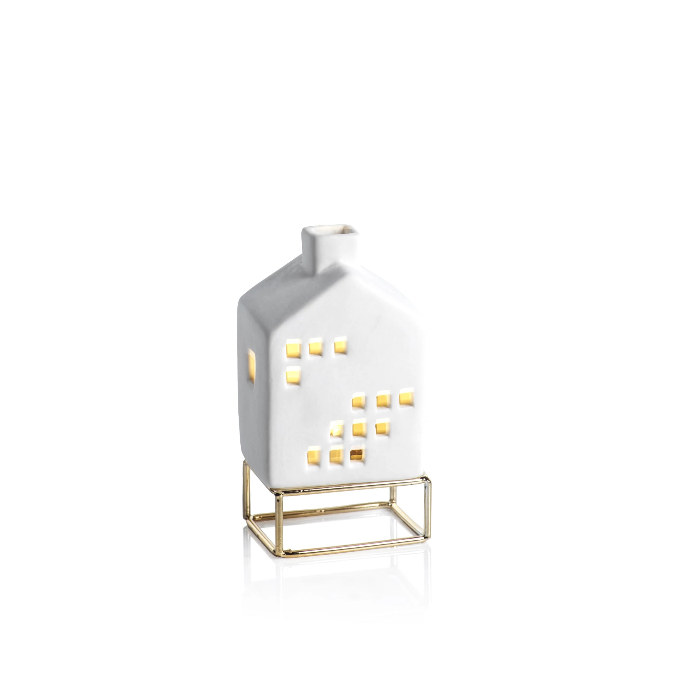 LED Ceramic House on Gold Metal Base - CARLYLE AVENUE