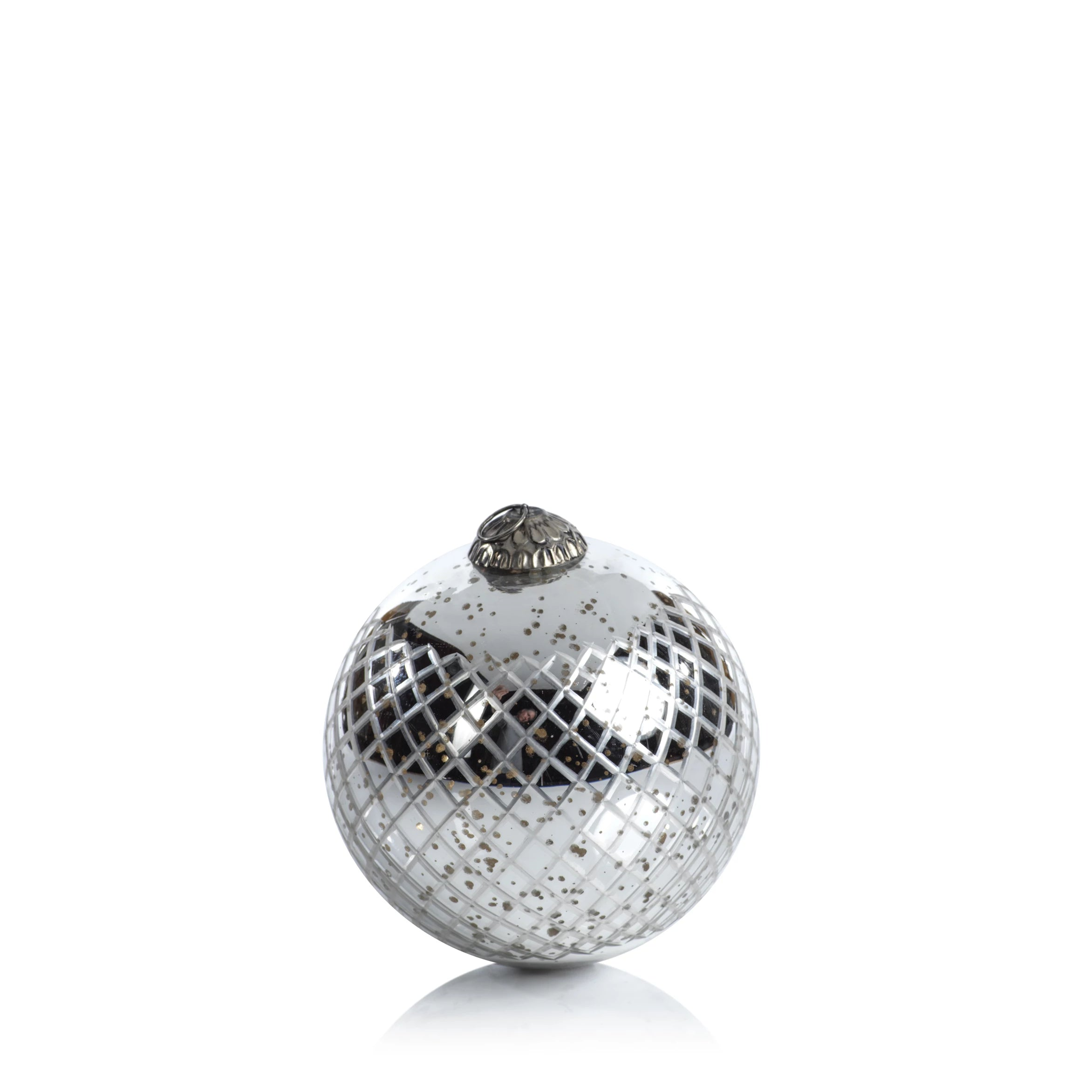 Diamond Cut Ball Ornament - Antique Silver - CARLYLE AVENUE