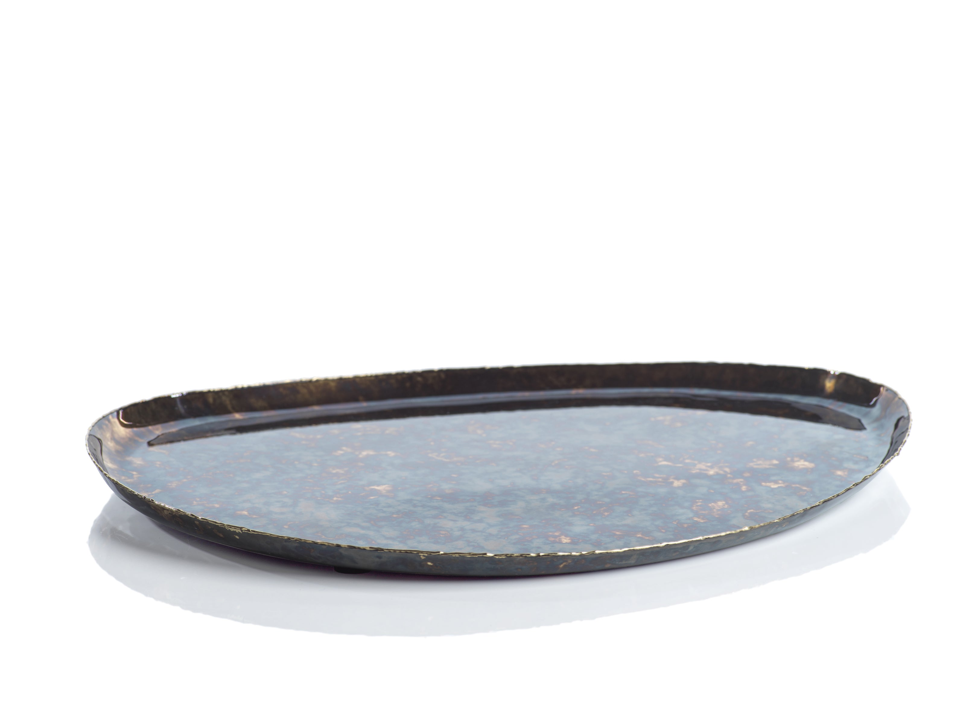 Antique Burnt Steel & Brass Organic Shape Tray - CARLYLE AVENUE