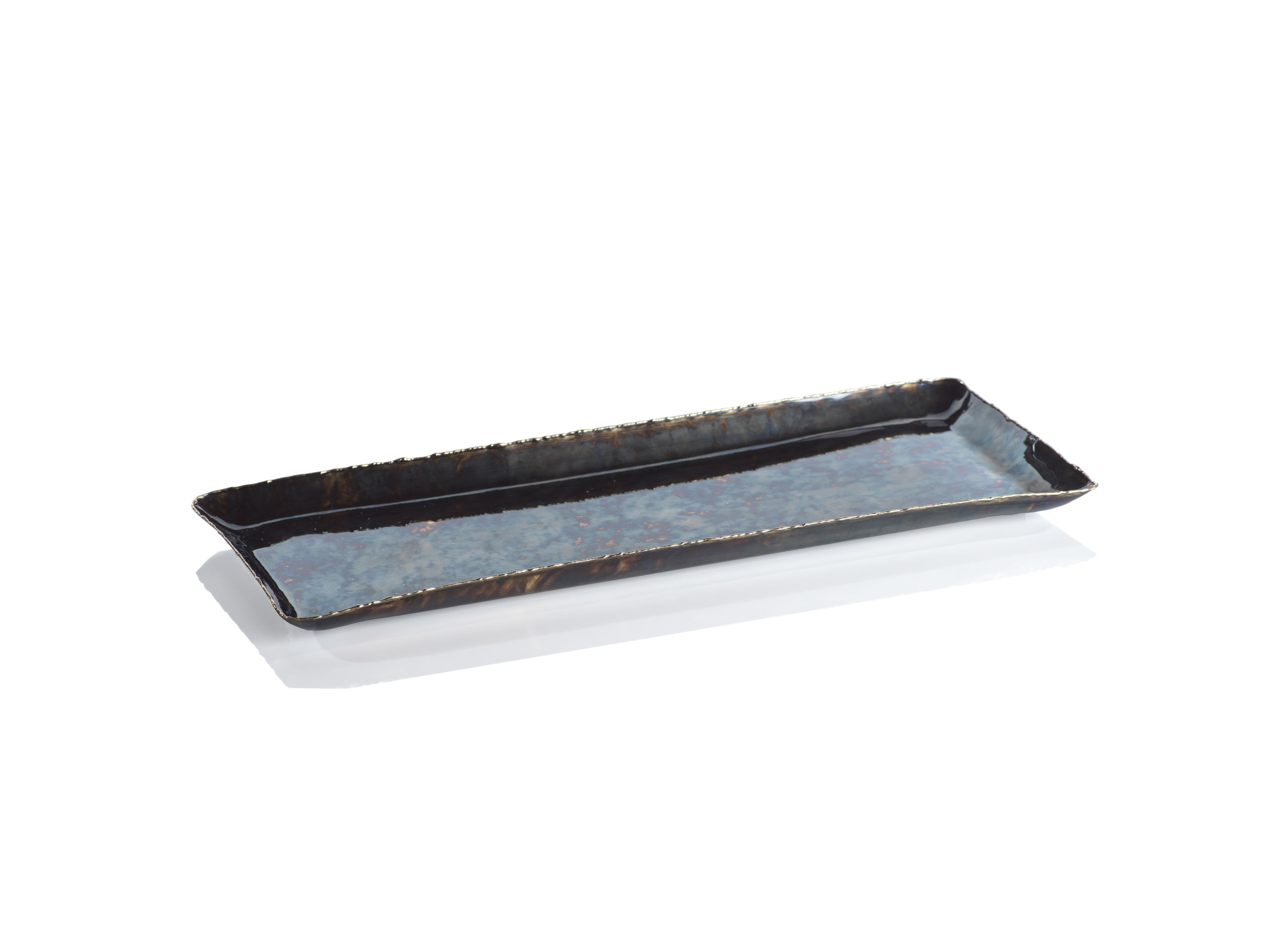 Antique Burnt Steel & Brass Rectangular Tray - CARLYLE AVENUE