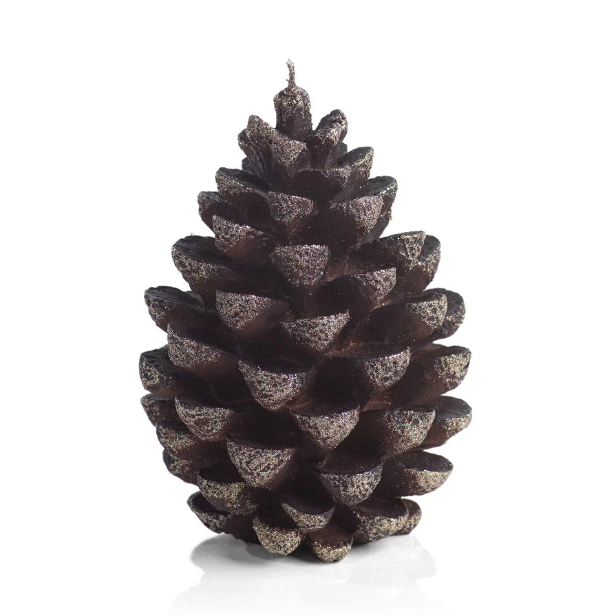 Chestnut Velvet Pinecone Candle w/Glitter - CARLYLE AVENUE