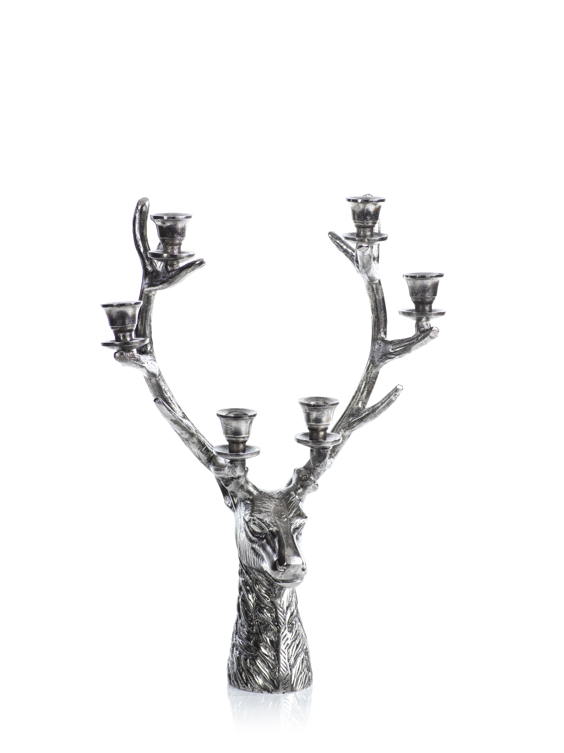 Stag Head 6 Tier Candleholder - Silver Antique - 2 Sizes - CARLYLE AVENUE