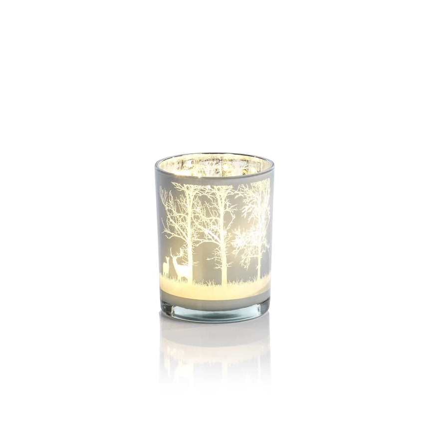 Aspen White LED Hurricane Glass - CARLYLE AVENUE