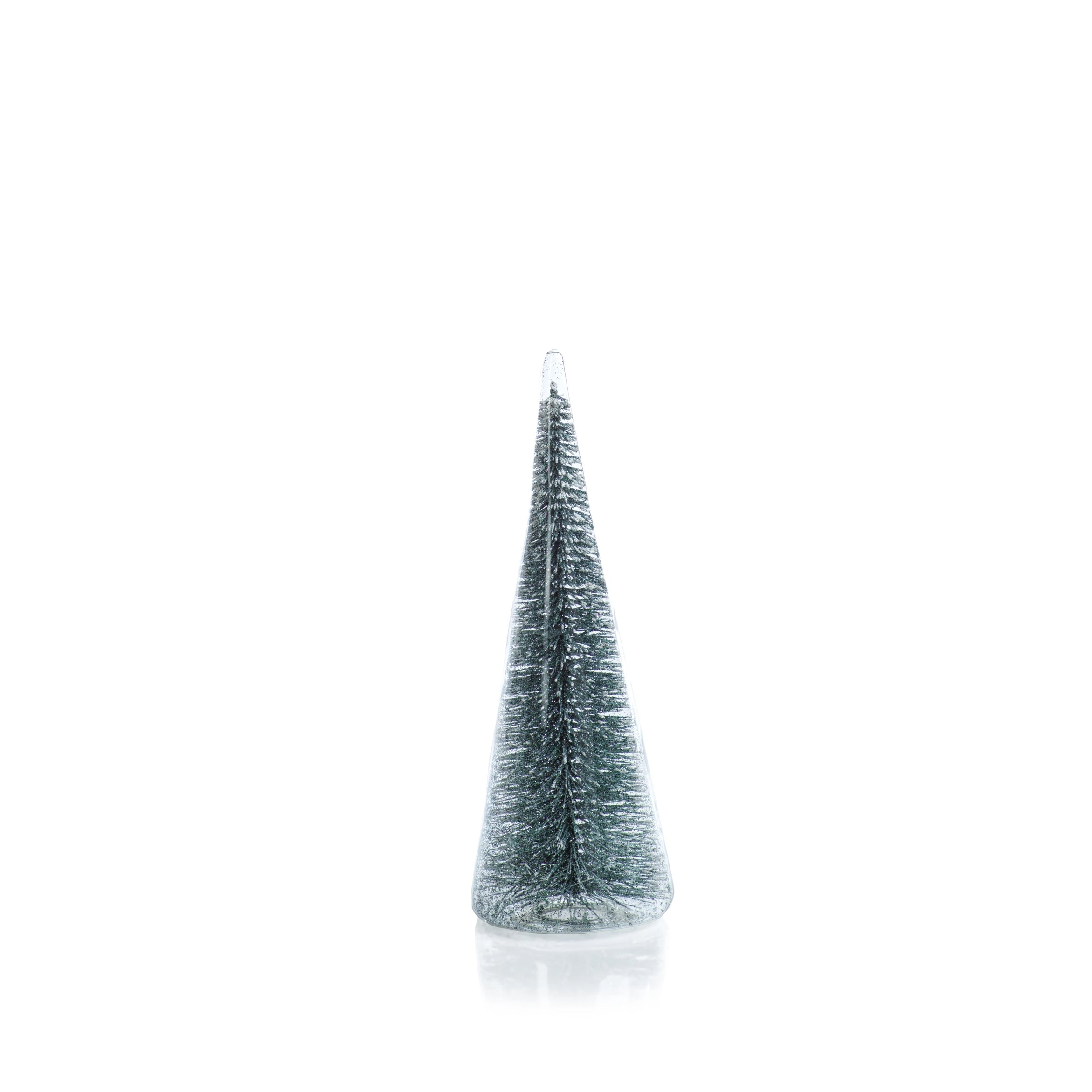Clear Glass Decorative Tree w/Teal Glitter - CARLYLE AVENUE