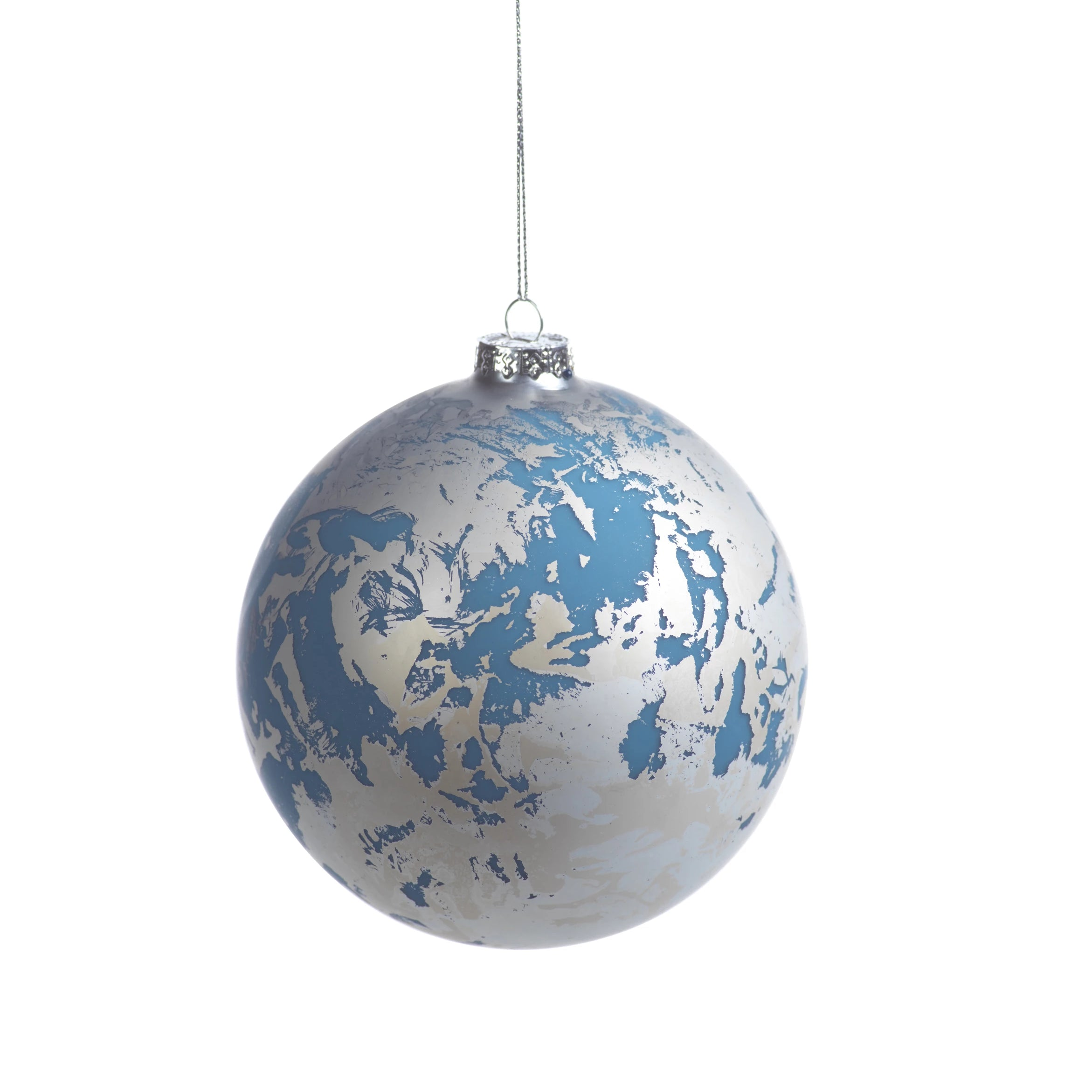 Patch Metallic Ornament - Silver& Blue - CARLYLE AVENUE