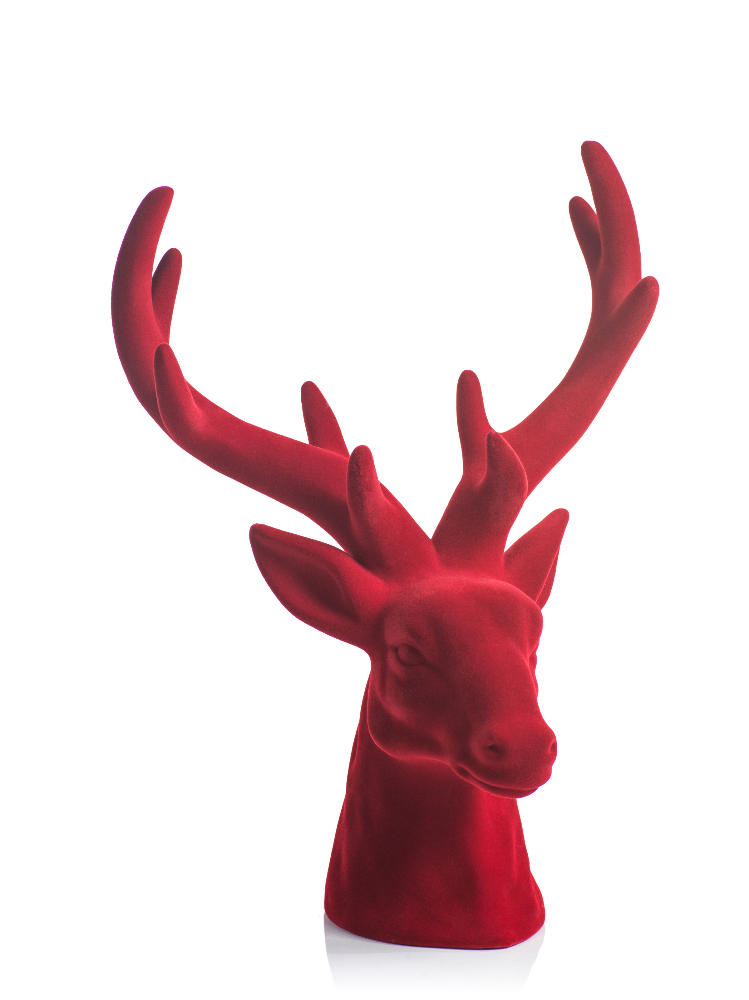Flocked Red Stag Head