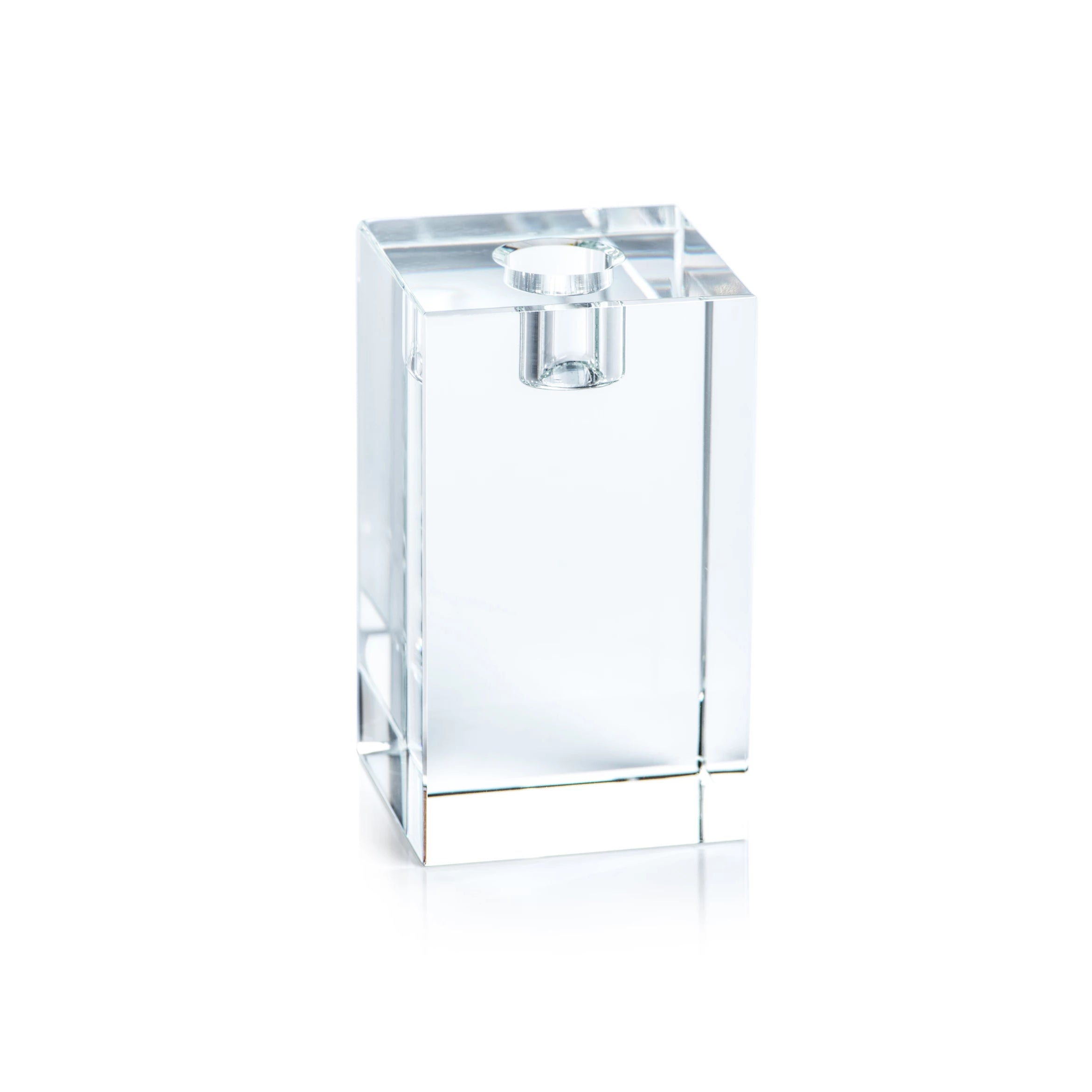 Square Crystal Glass Taper Holder - CARLYLE AVENUE