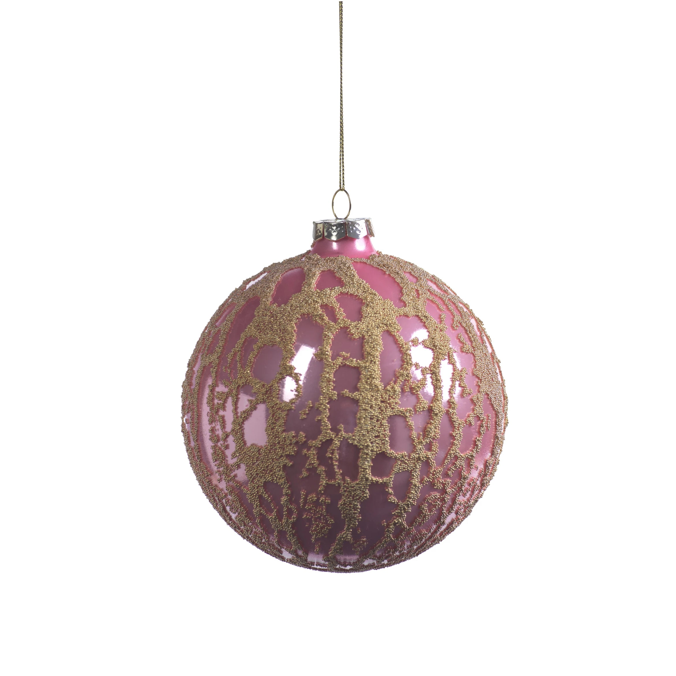 Pink Ball Ornament w/ Abstract Gold Beads