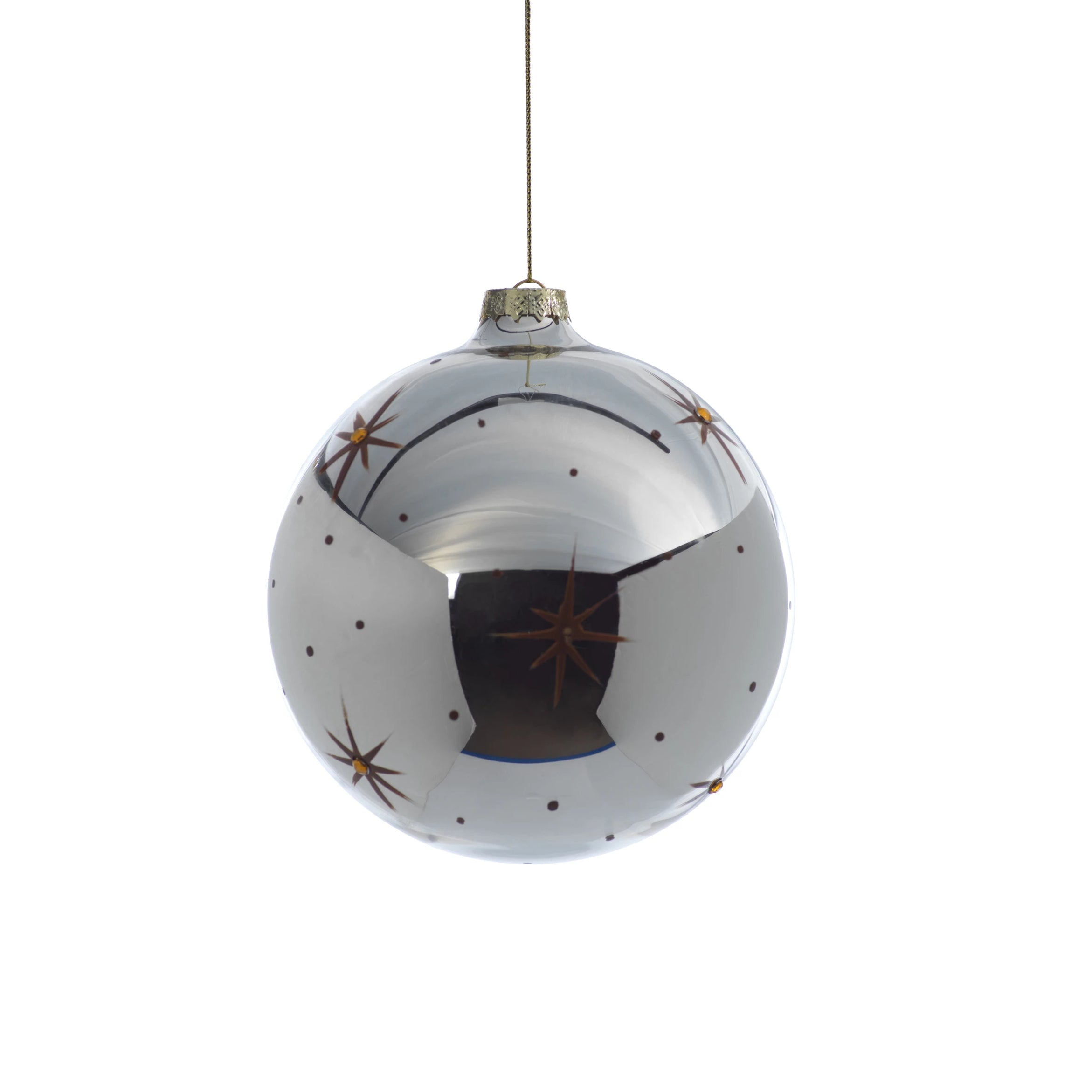 Silver Ball Ornament w/ Star Design - CARLYLE AVENUE