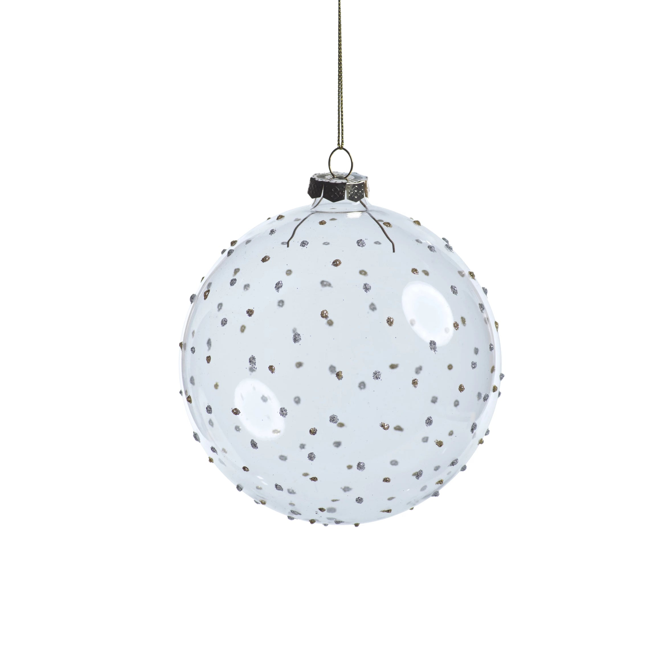Clear Ball Ornament w/ Silver and Gold Glitter Dots - CARLYLE AVENUE