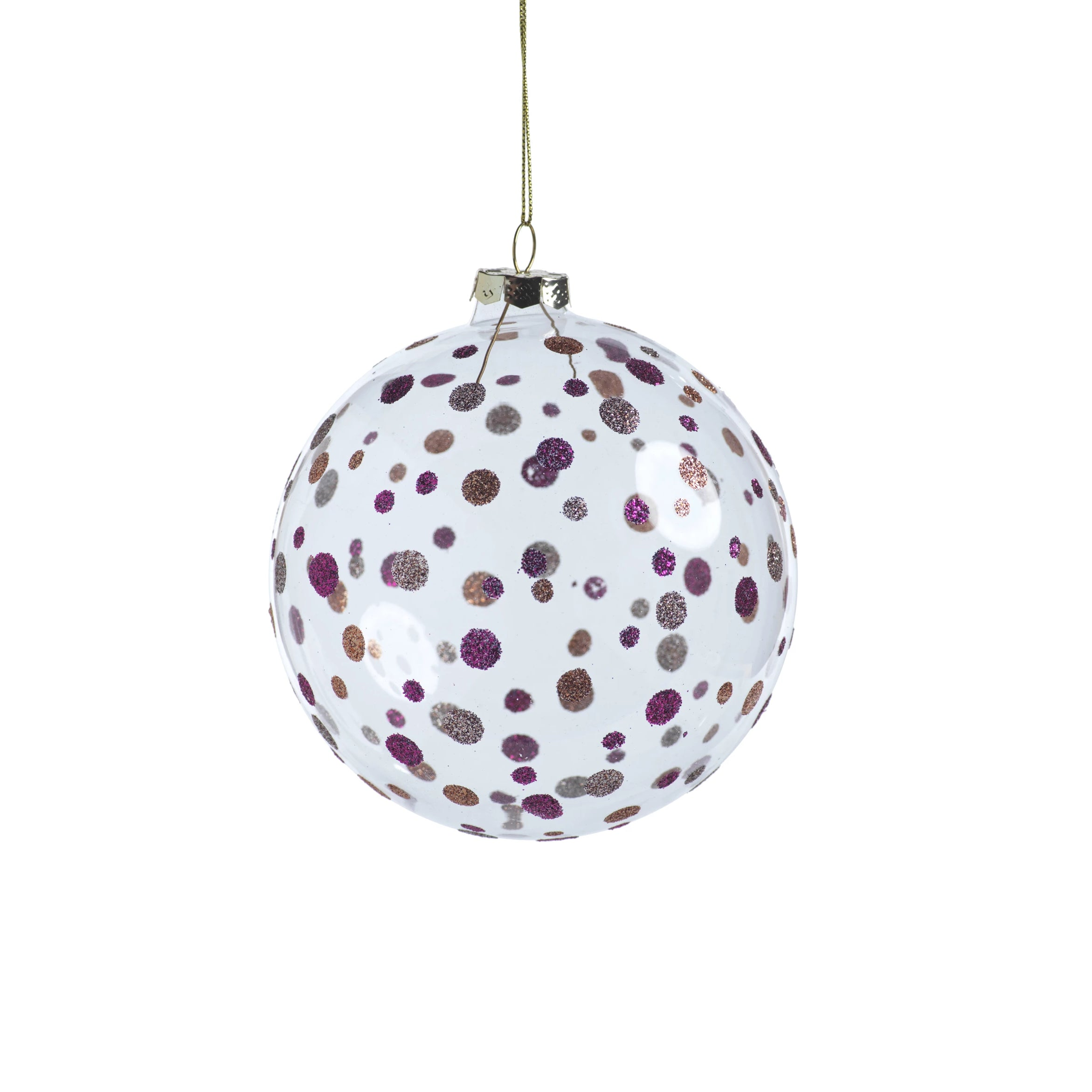 Clear Ball Ornament w/Glitter Dots - Purple - CARLYLE AVENUE