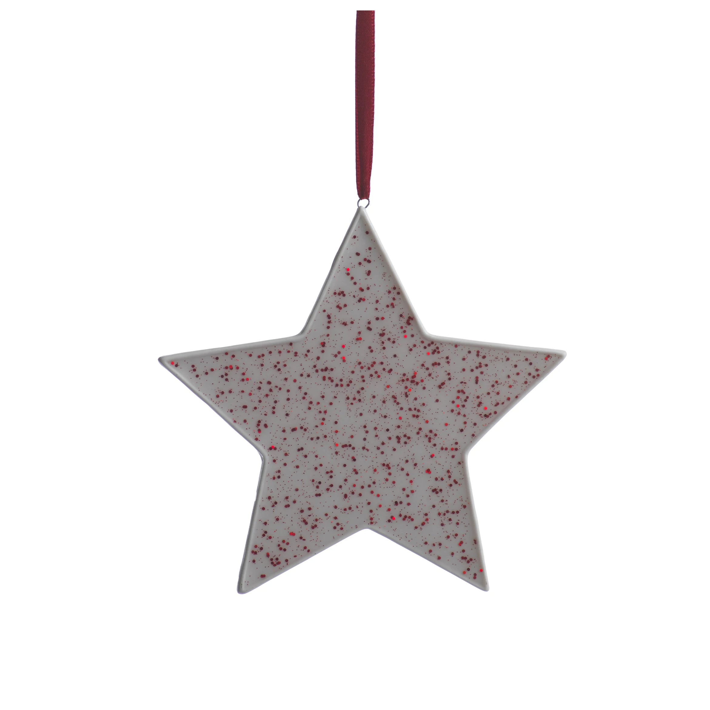 Speckled Star Ornament - Red