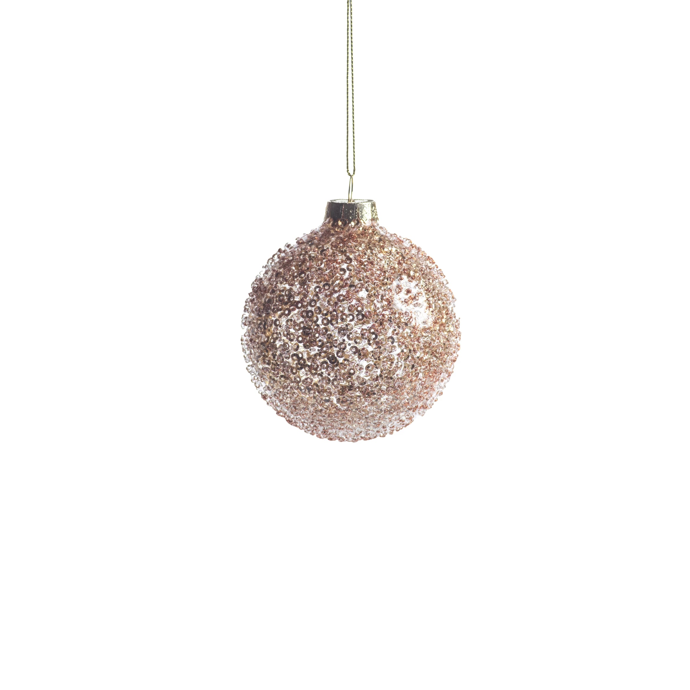 Burnt Gold Beaded Ball Ornament - CARLYLE AVENUE