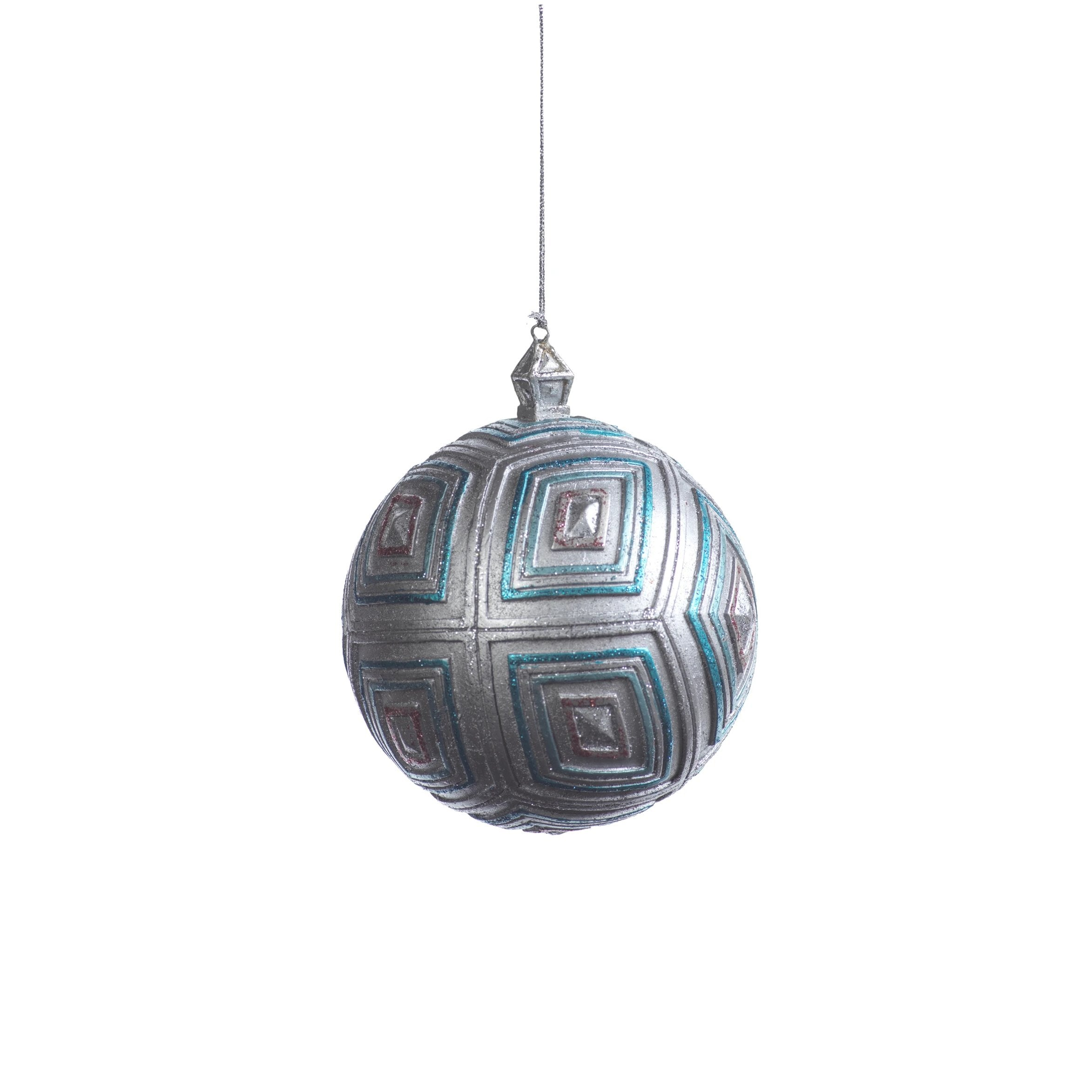 Kite Ball Ornament- Silver & Blue - CARLYLE AVENUE