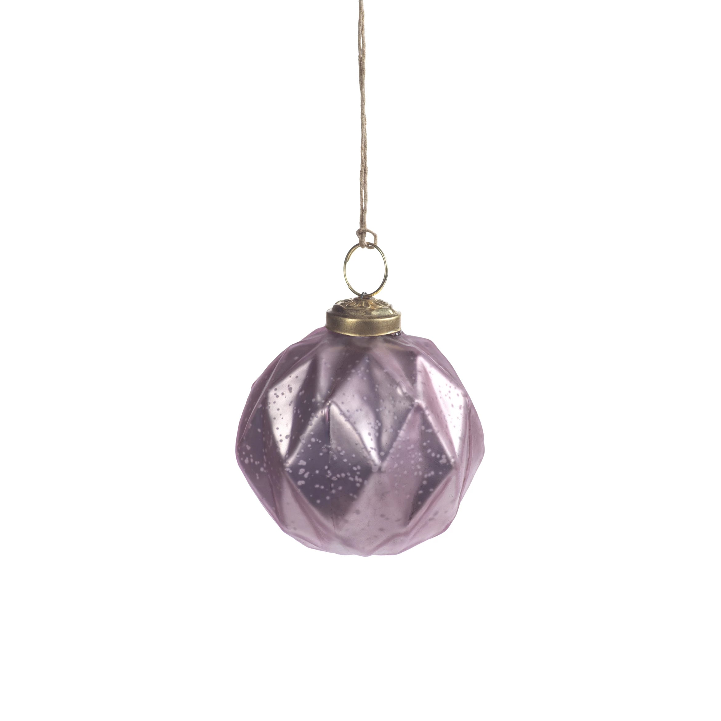Faceted Glass Ornaments - Pink