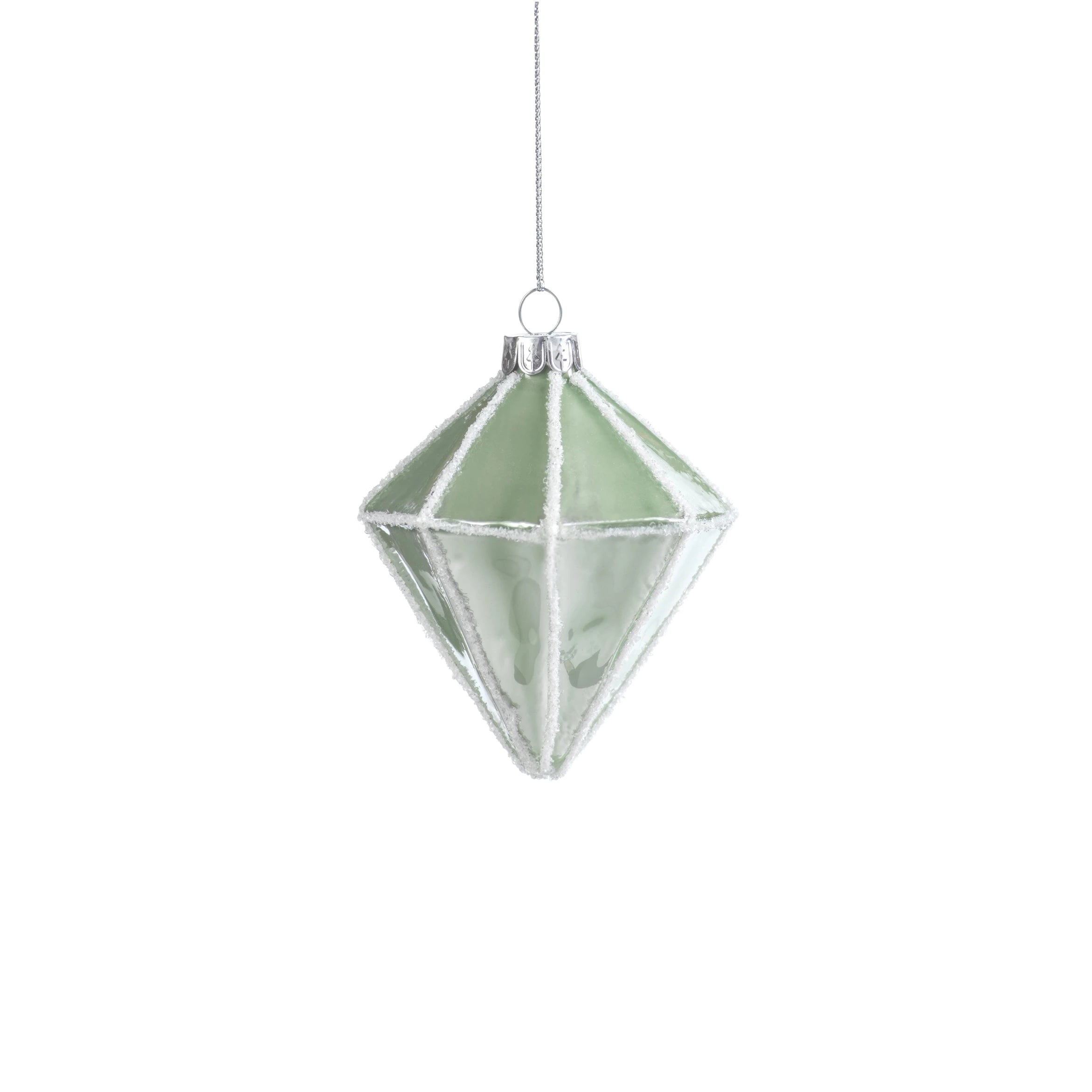 Metallic Green Faceted Ornament
