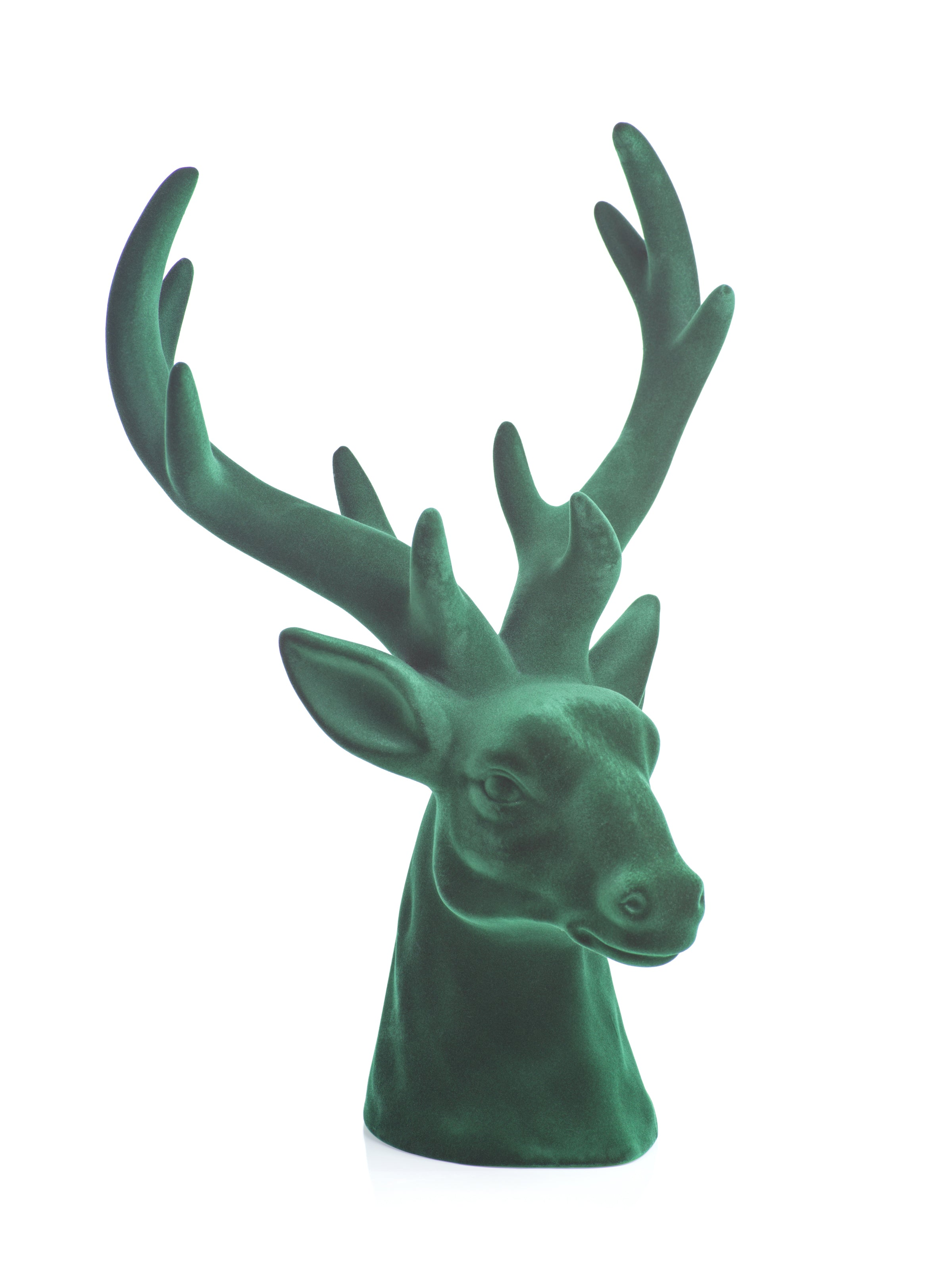 Flocked Green Stag Head