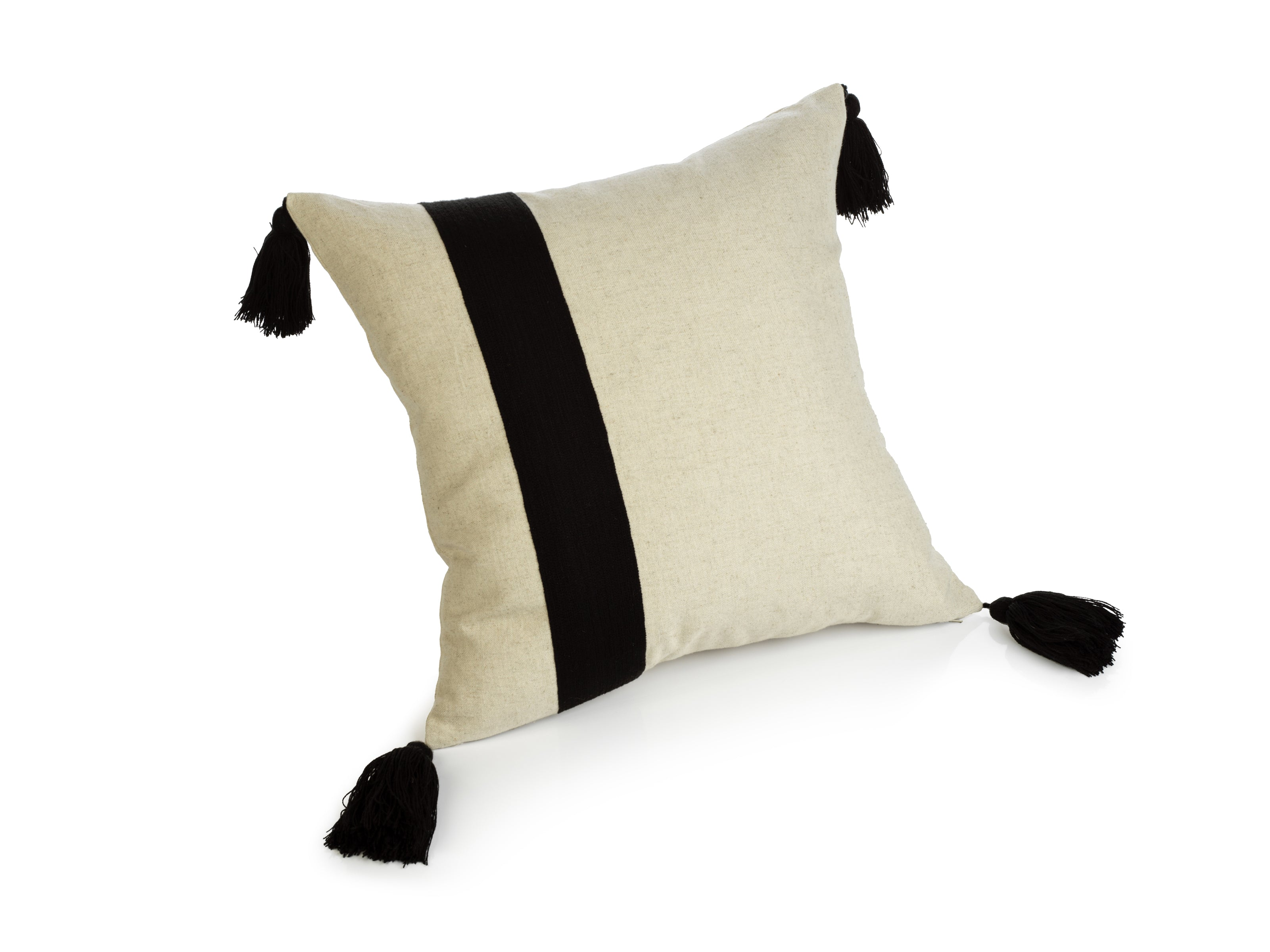 Polignano Embroidered Throw Pillow w/Tassels - Black - CARLYLE AVENUE