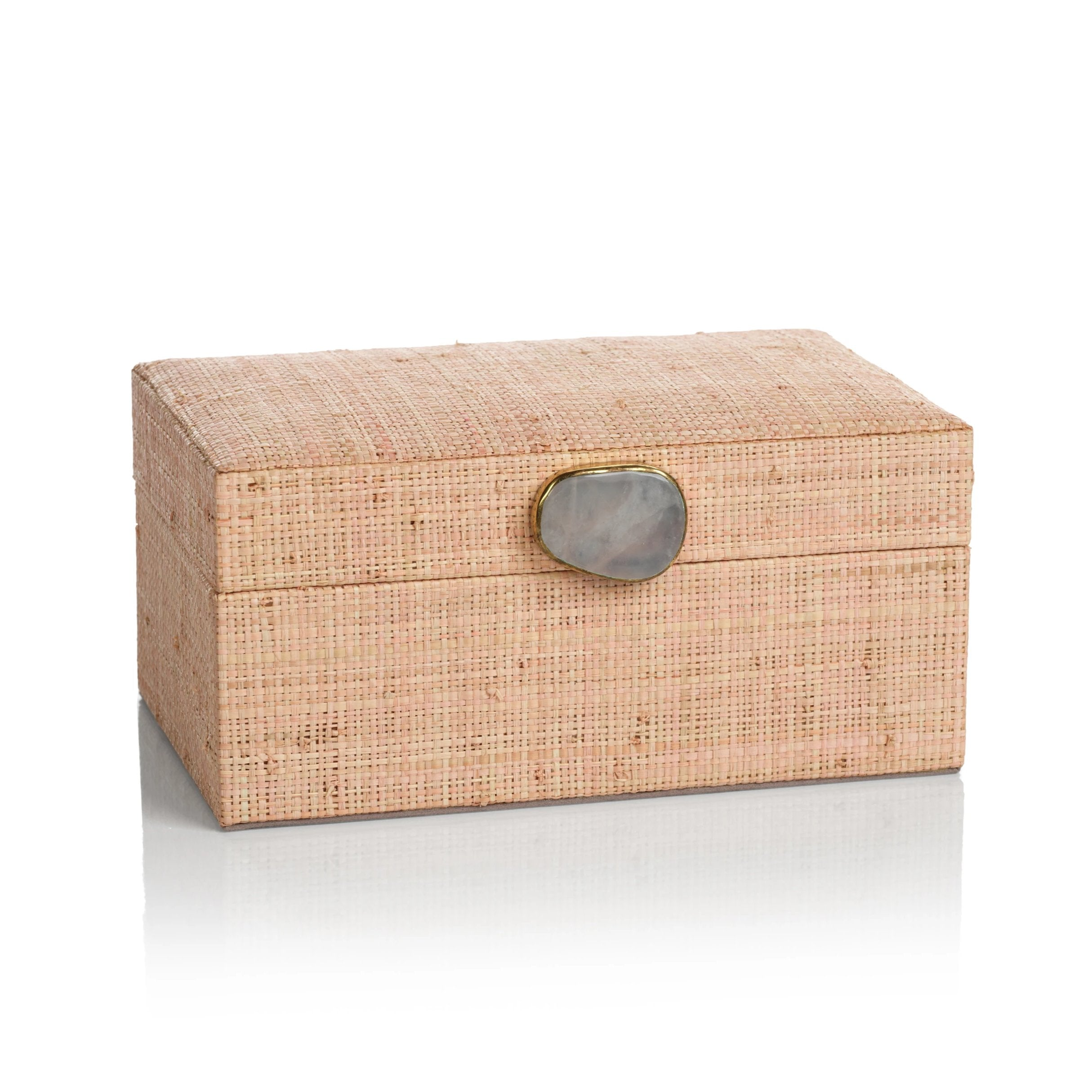 Raffia Palm Box with Stone Accent - Blush - CARLYLE AVENUE