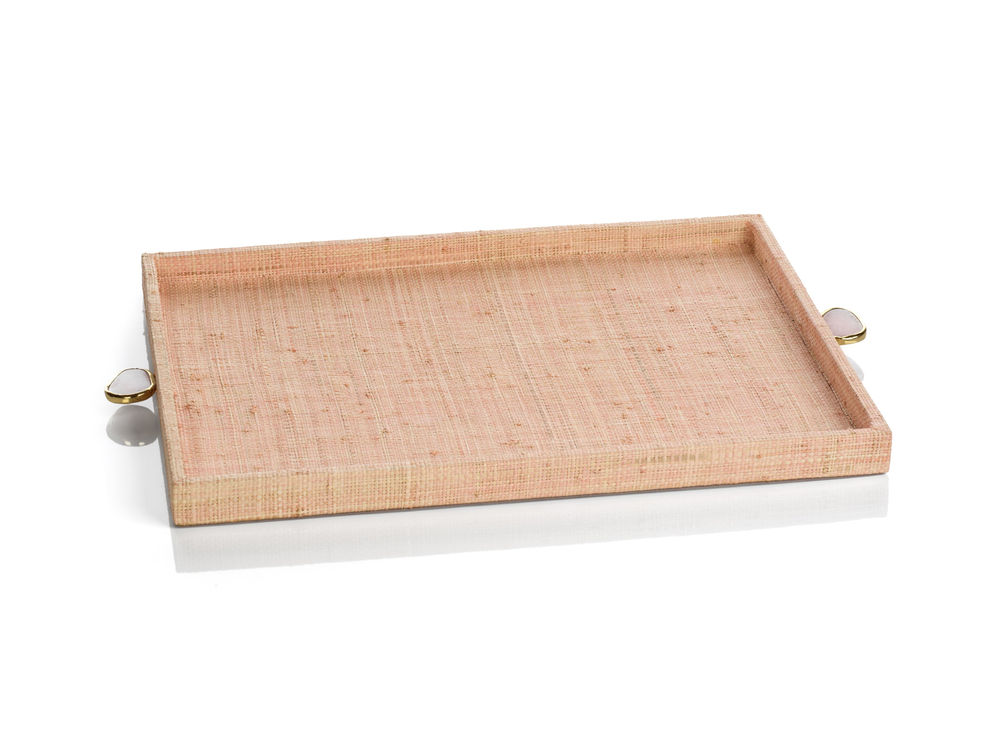 Raffia Palm Tray with Stone Accent - Blush - CARLYLE AVENUE