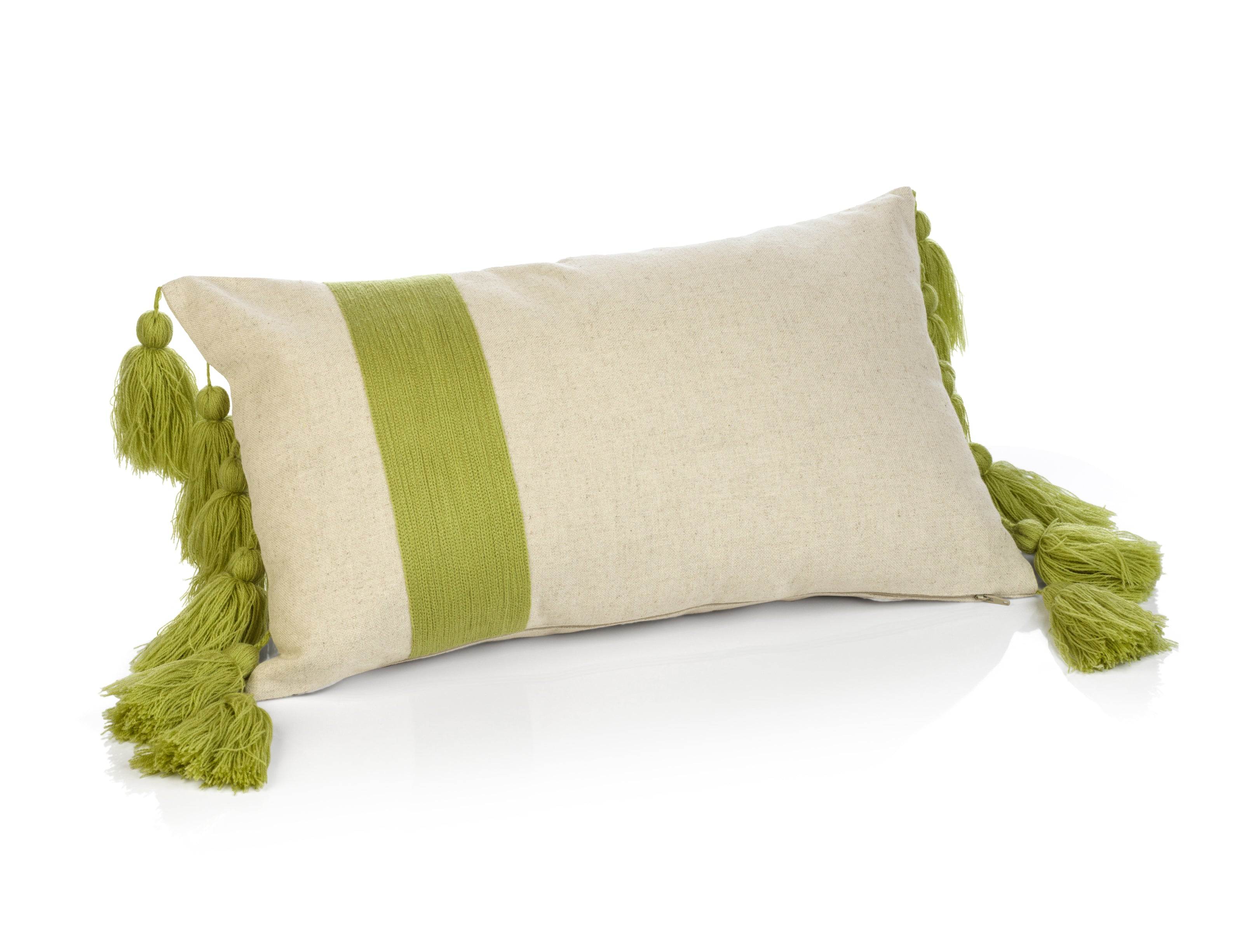 Polignano Embroidered Throw Pillow w/Tassels - Palm - CARLYLE AVENUE