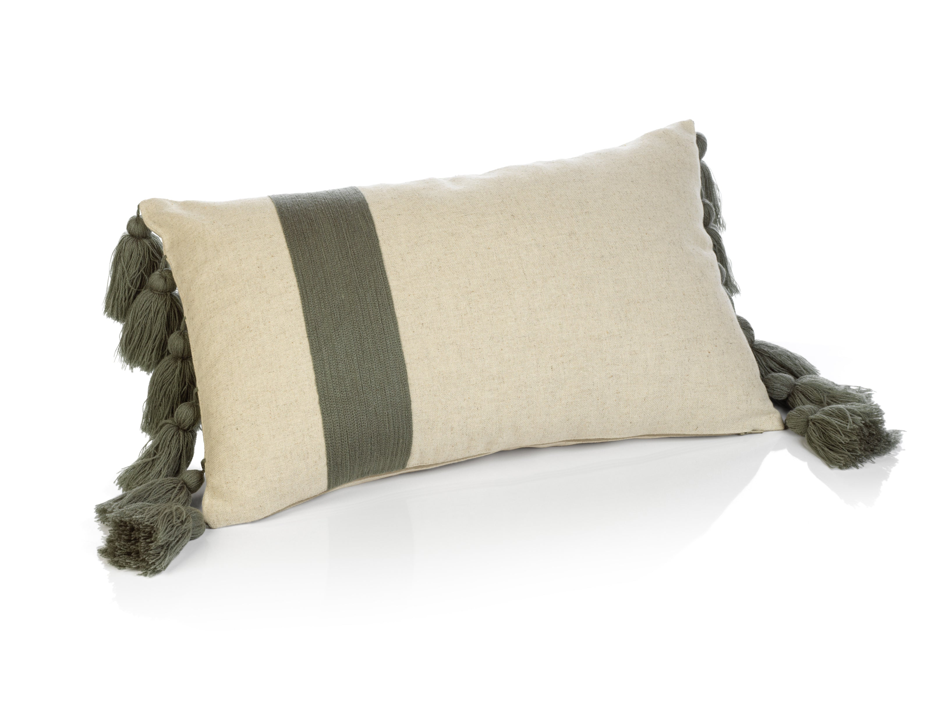 Polignano Embroidered Throw Pillow w/Tassels - Sage - CARLYLE AVENUE