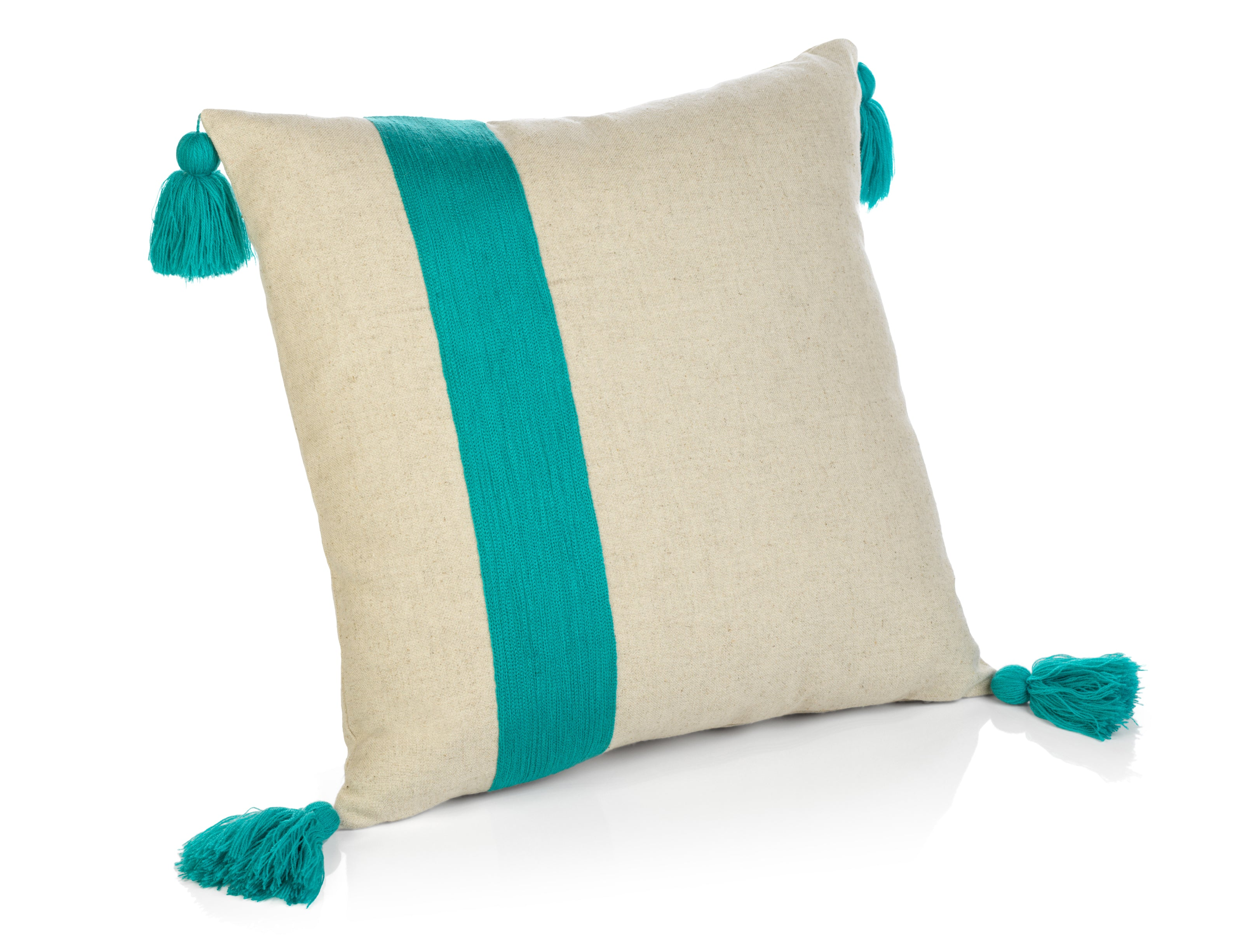 Polignano Embroidered Throw Pillow w/Tassels - Azure - CARLYLE AVENUE