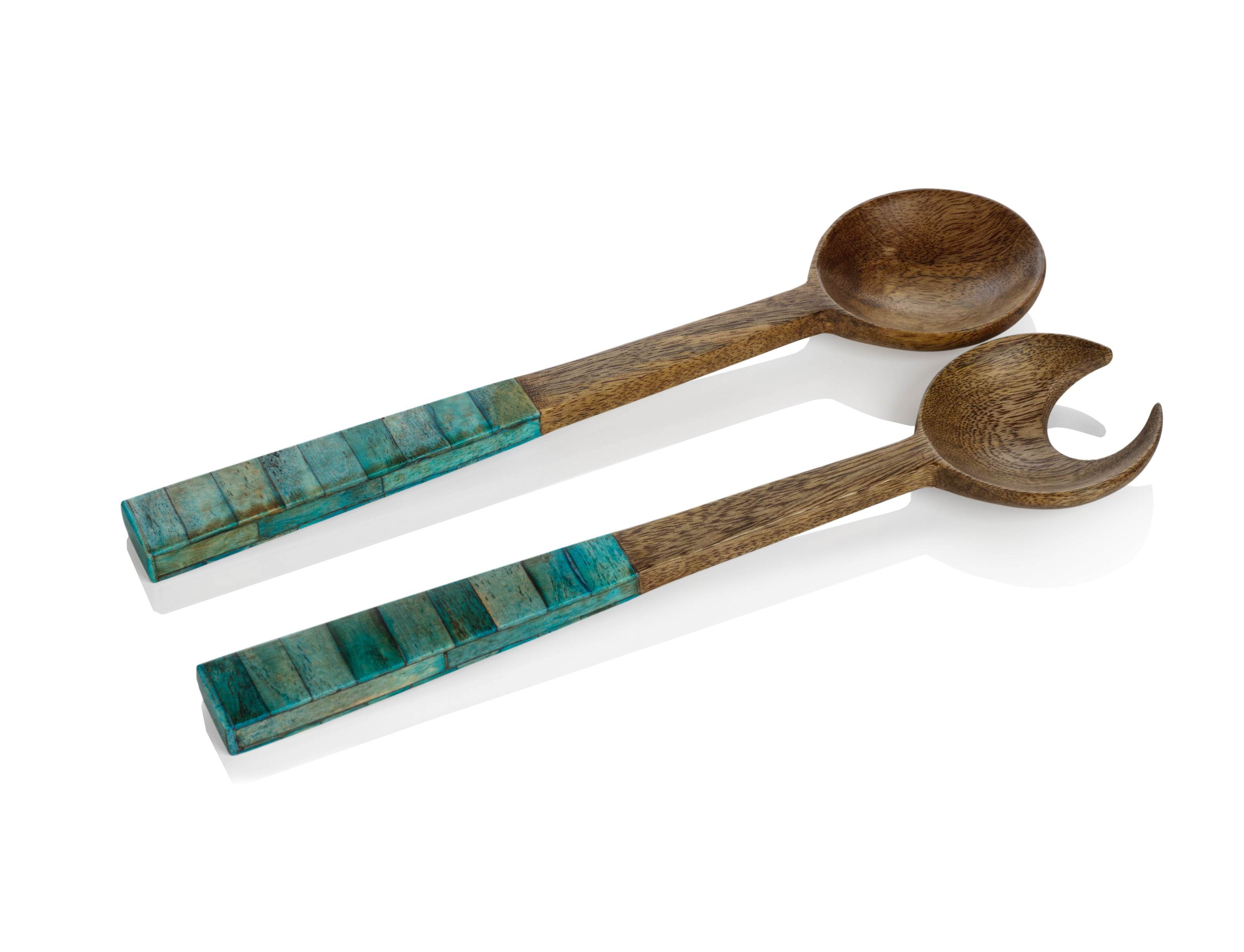 Mango Wood Salad Server w/Inlaid Bone Handle - CARLYLE AVENUE