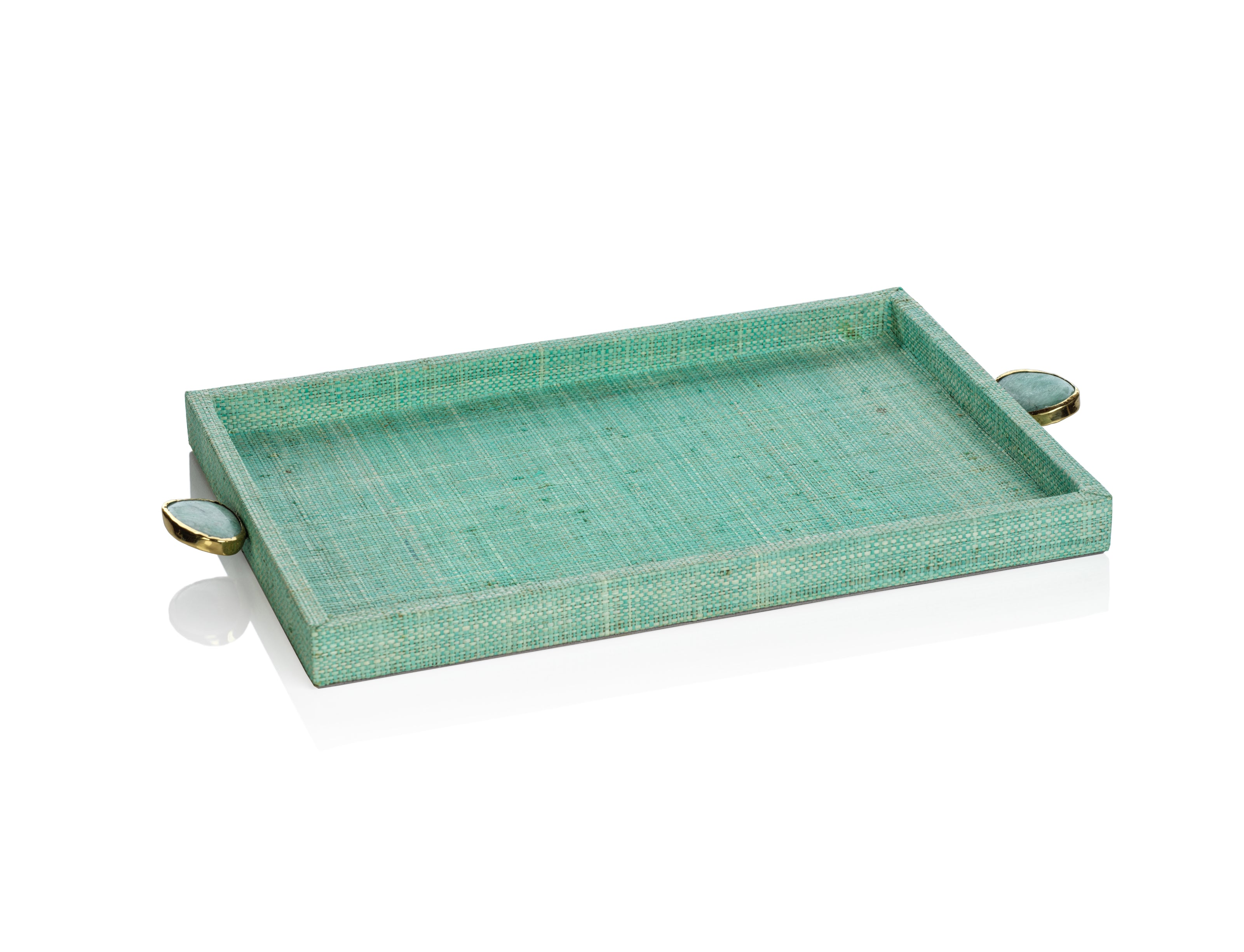 Raffia Palm Tray with Stone Accent - Jade - CARLYLE AVENUE