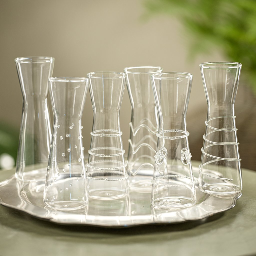 Raised Design Individual Carafes - Set of 6