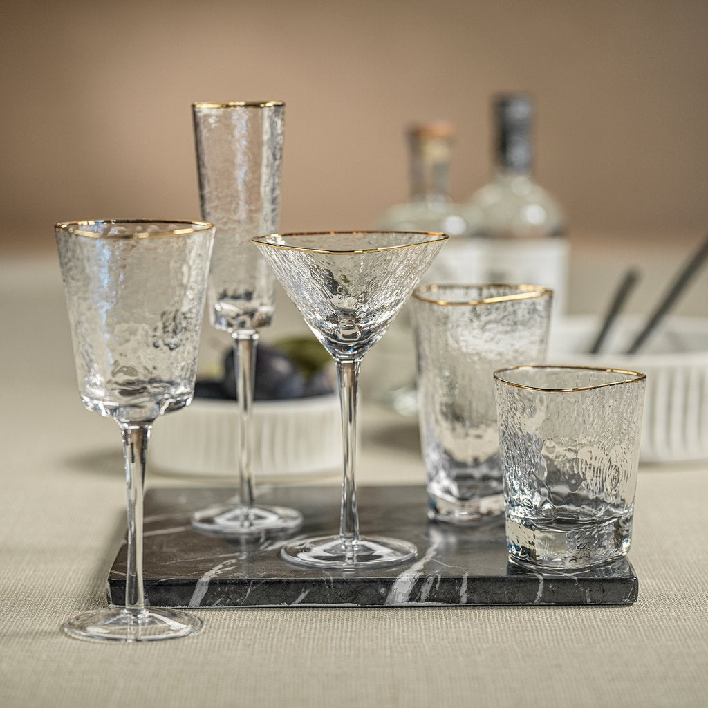 Aperitivo Triangular Stemware - Clear w/ Gold Rim