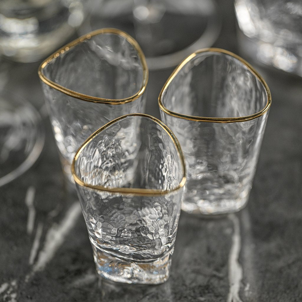 Aperitivo Triangular Glassware w/Gold Rim