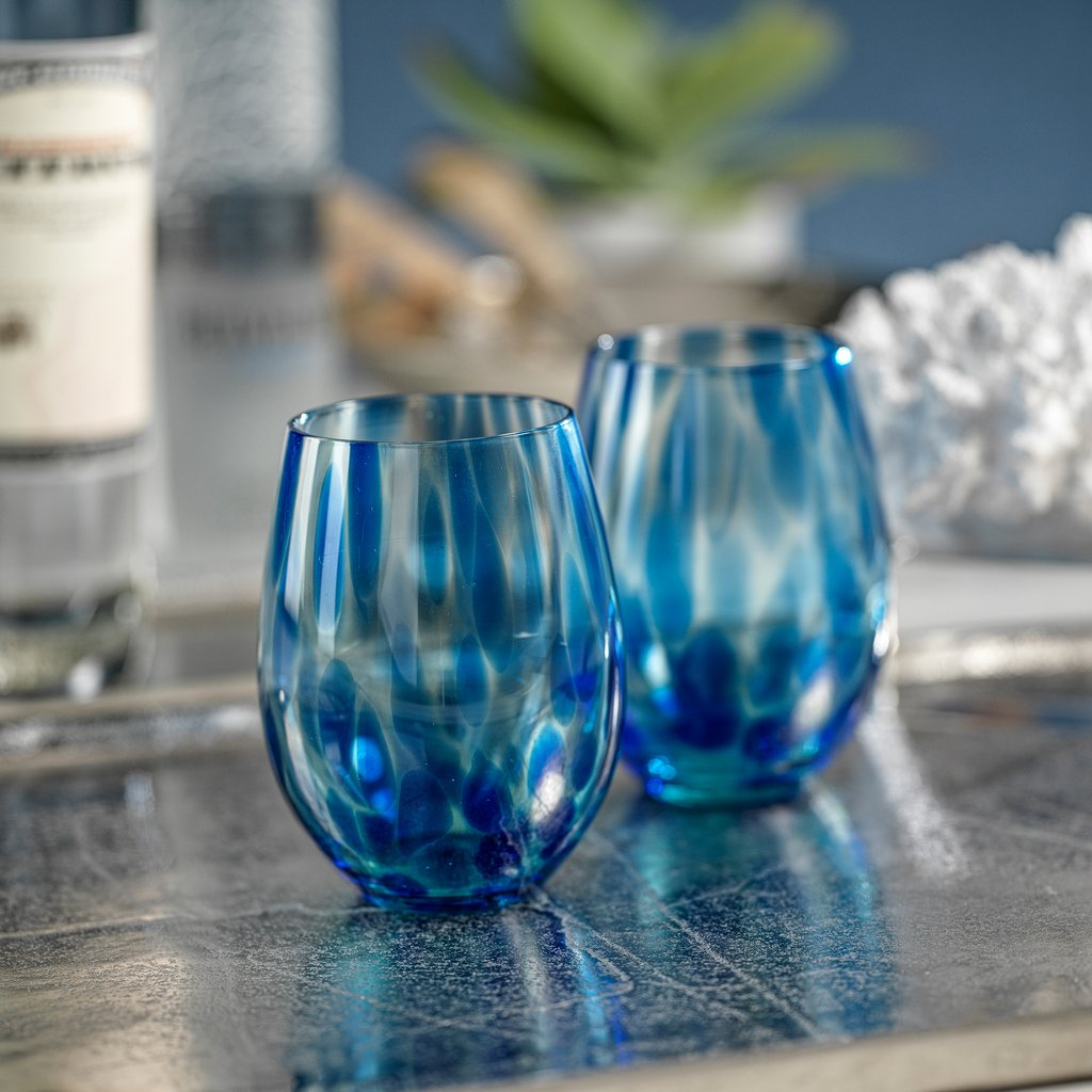 Blue Tortoise Stemless All Purpose Glass