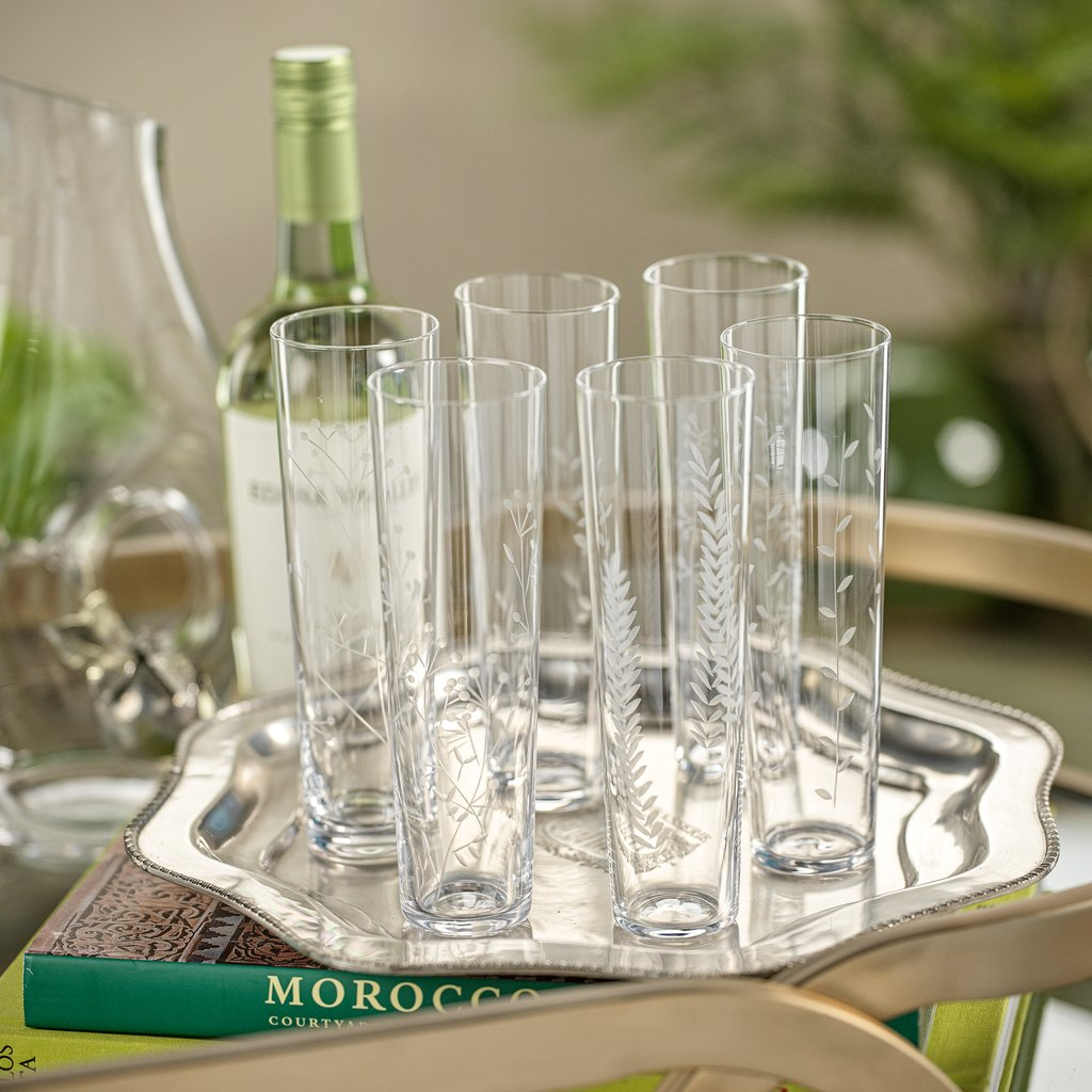 Flora Etched Flute - Set of Six Assorted