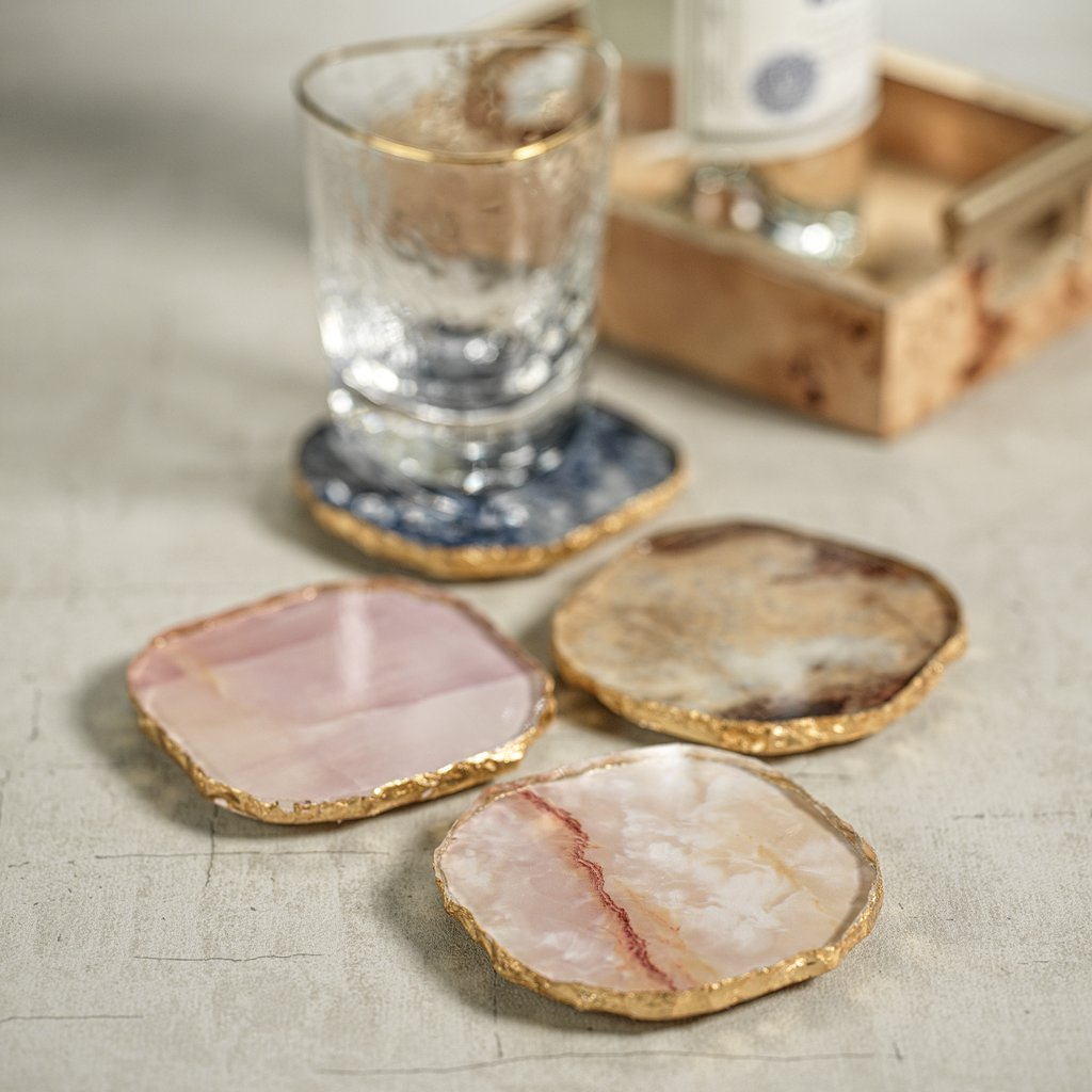 Agate Marble Glass Coaster with Gold Rim - Set of 4