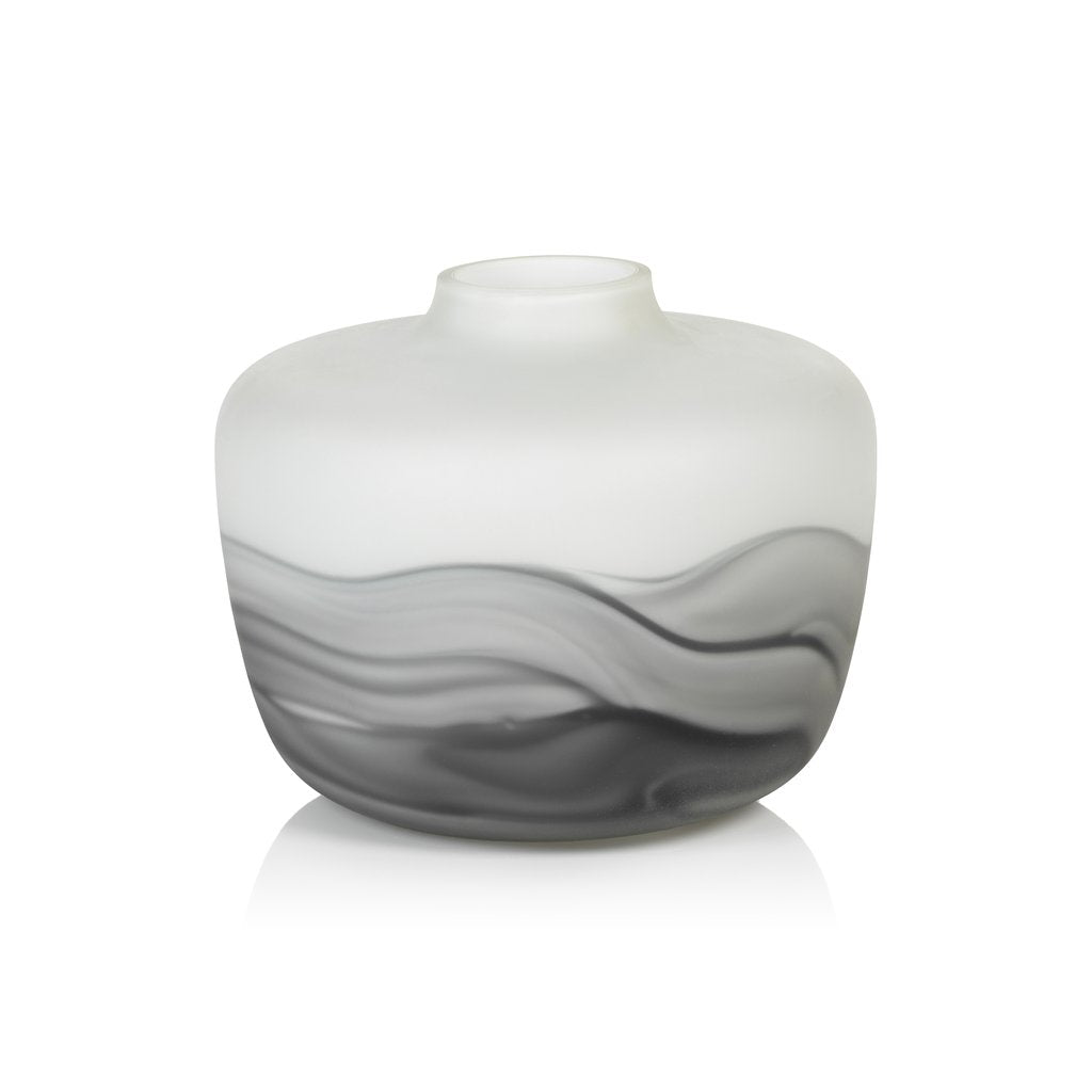 White and Gray Lava Glass Vase