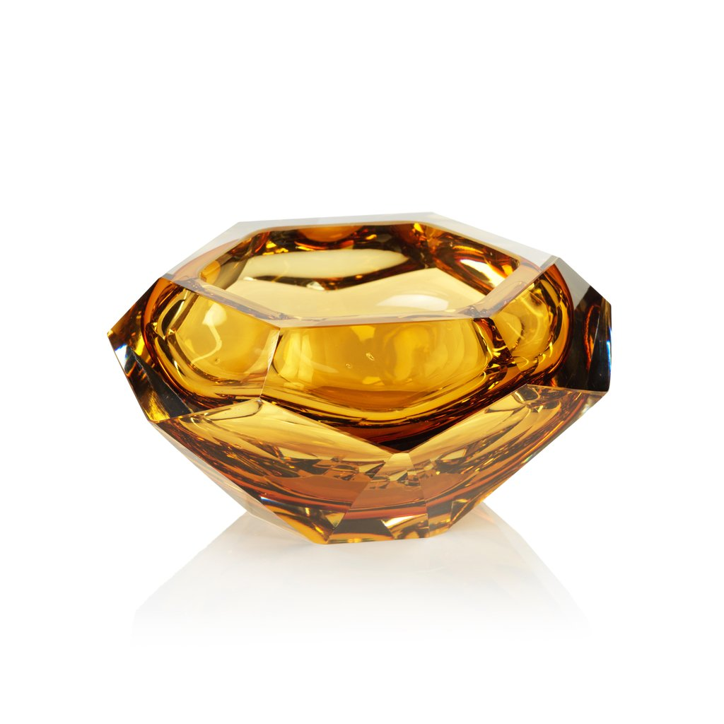La Bohème Hand Made Polished Cut Glass Bowl - Amber