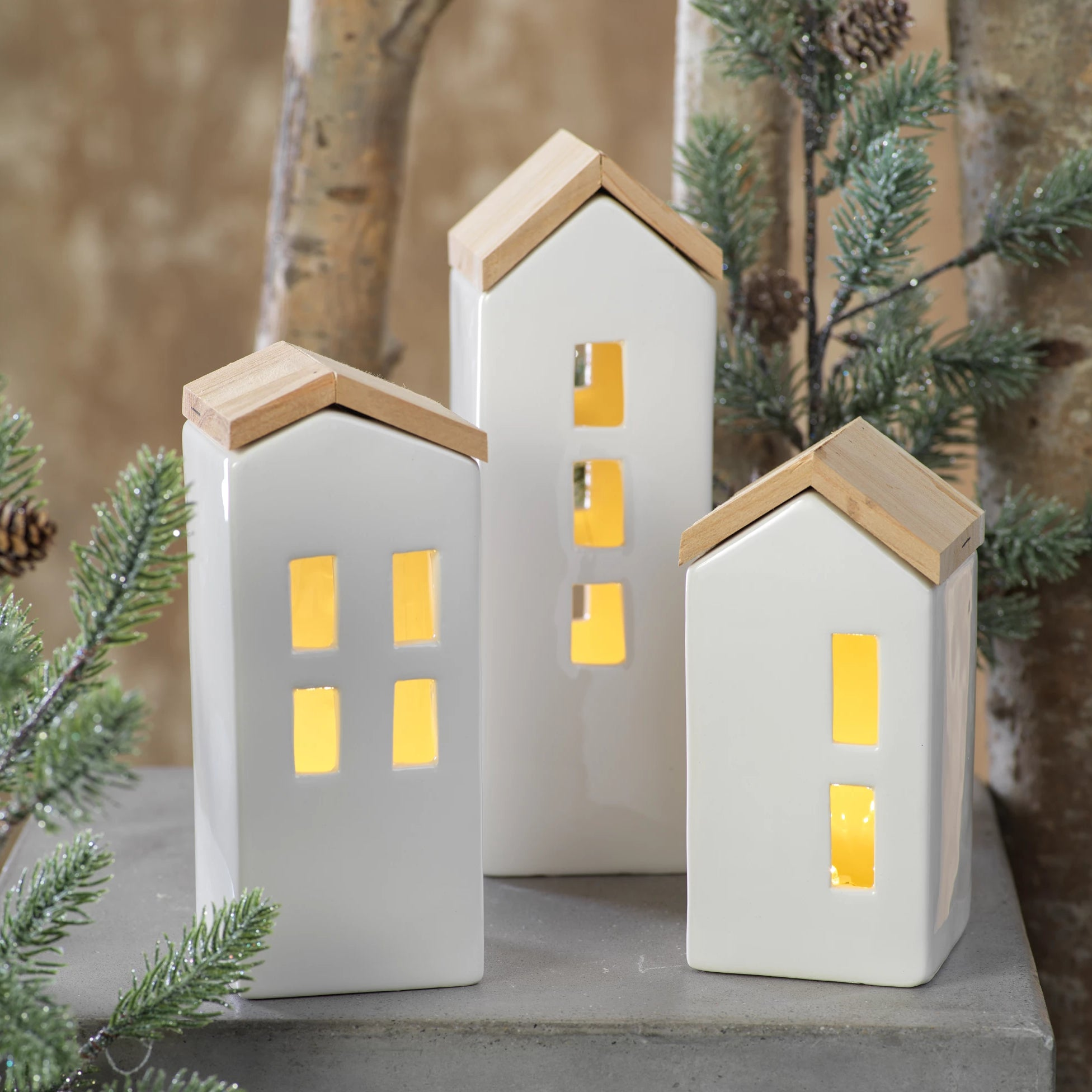Set of 3 Ceramic LED Houses