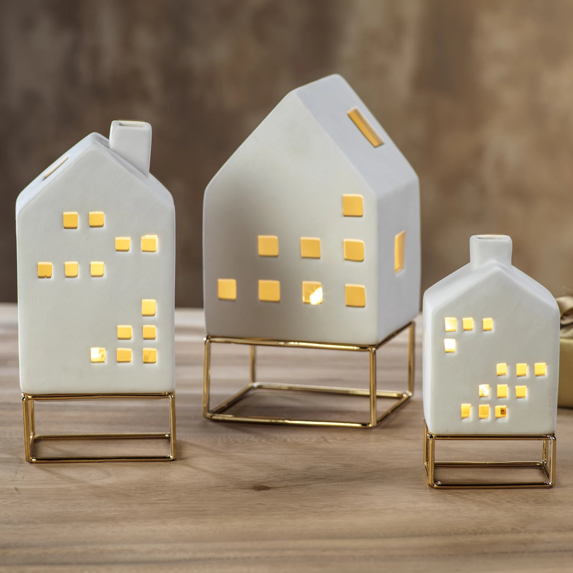 LED Ceramic House on Gold Metal Base