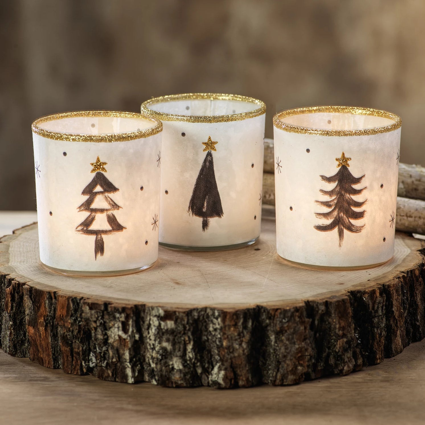 Tree Glass Tealight Holder - Set of 3 - CARLYLE AVENUE