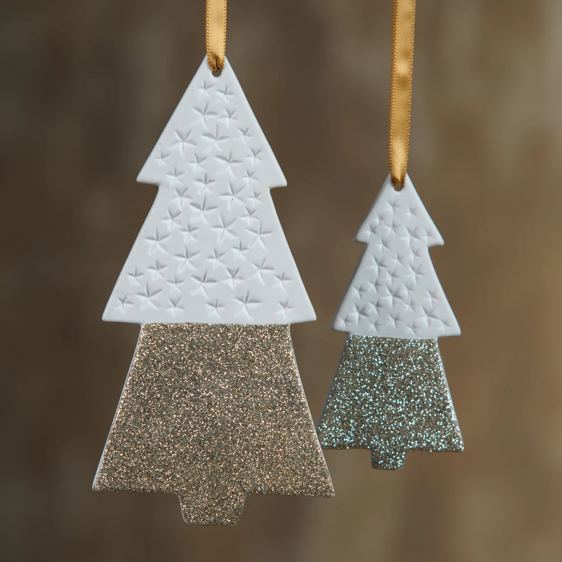 Two-Tone Tree Ornaments - Gold